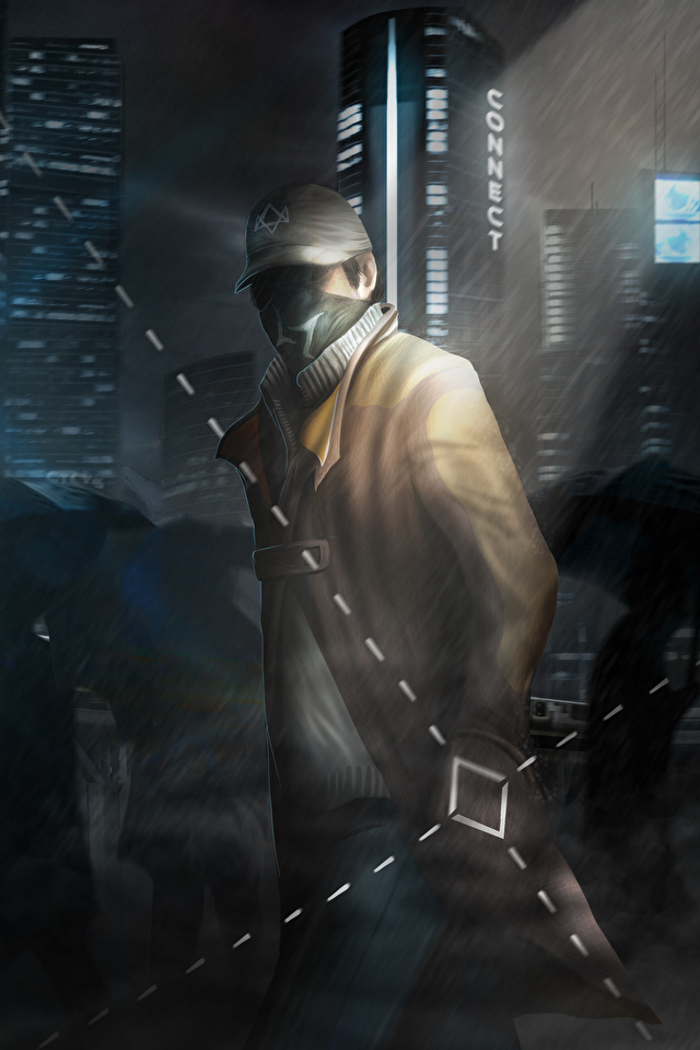 Images Watch Dogs Men Aiden Pearce Games Night Masks 640x960 Images, Photos, Reviews