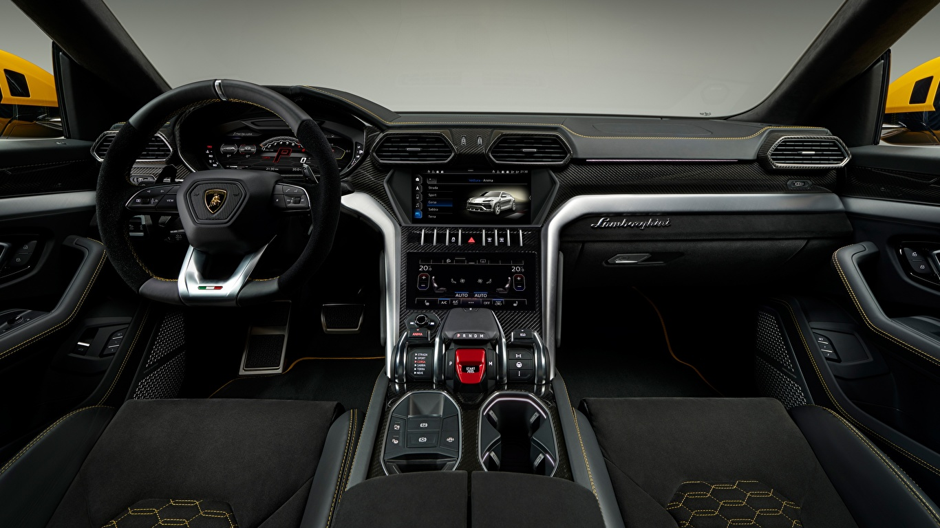 Photo Salons Lamborghini Steering Wheel 2018 Urus Cars 1366x768