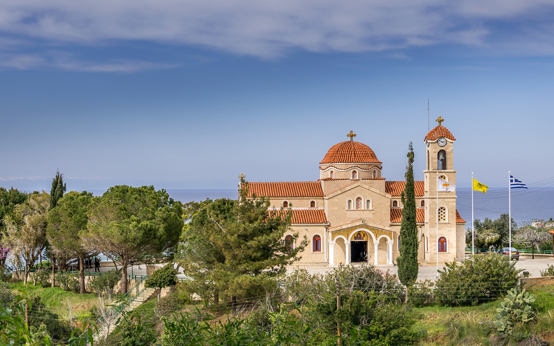 Picture Agios Raphael Church Pachyammos Cyprus Temples Trees Cities 1920x1200 temple