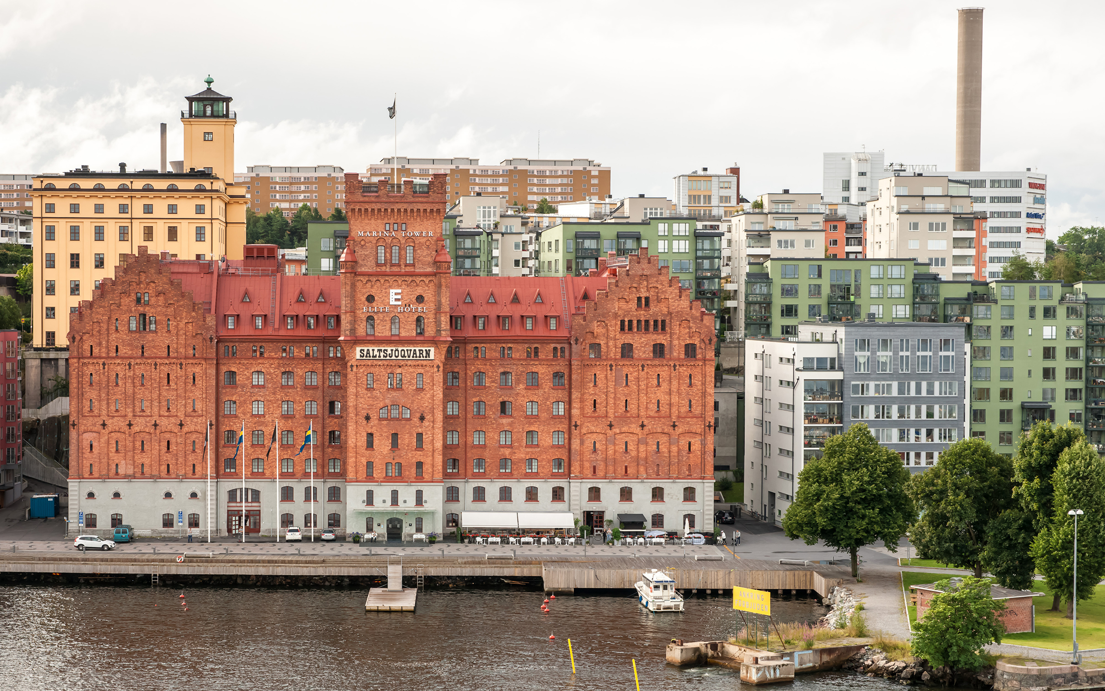Pictures Stockholm Sweden Bay Pier Cities Building 3840x2400 Berth Marinas Houses