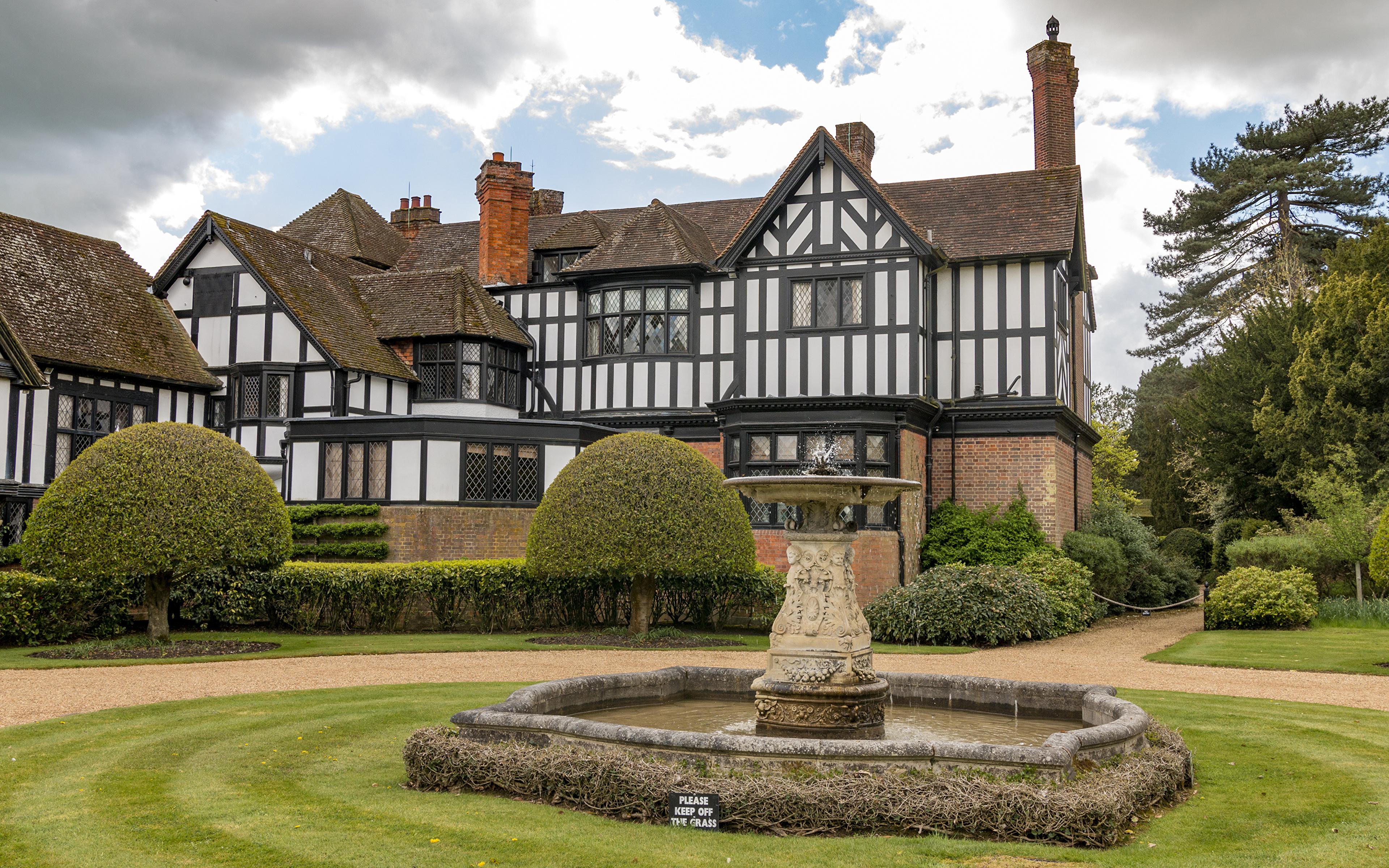 3840x2400、イギリス、住宅、噴水、Ascott House、邸宅、デザイン、芝、低木、建物、都市、