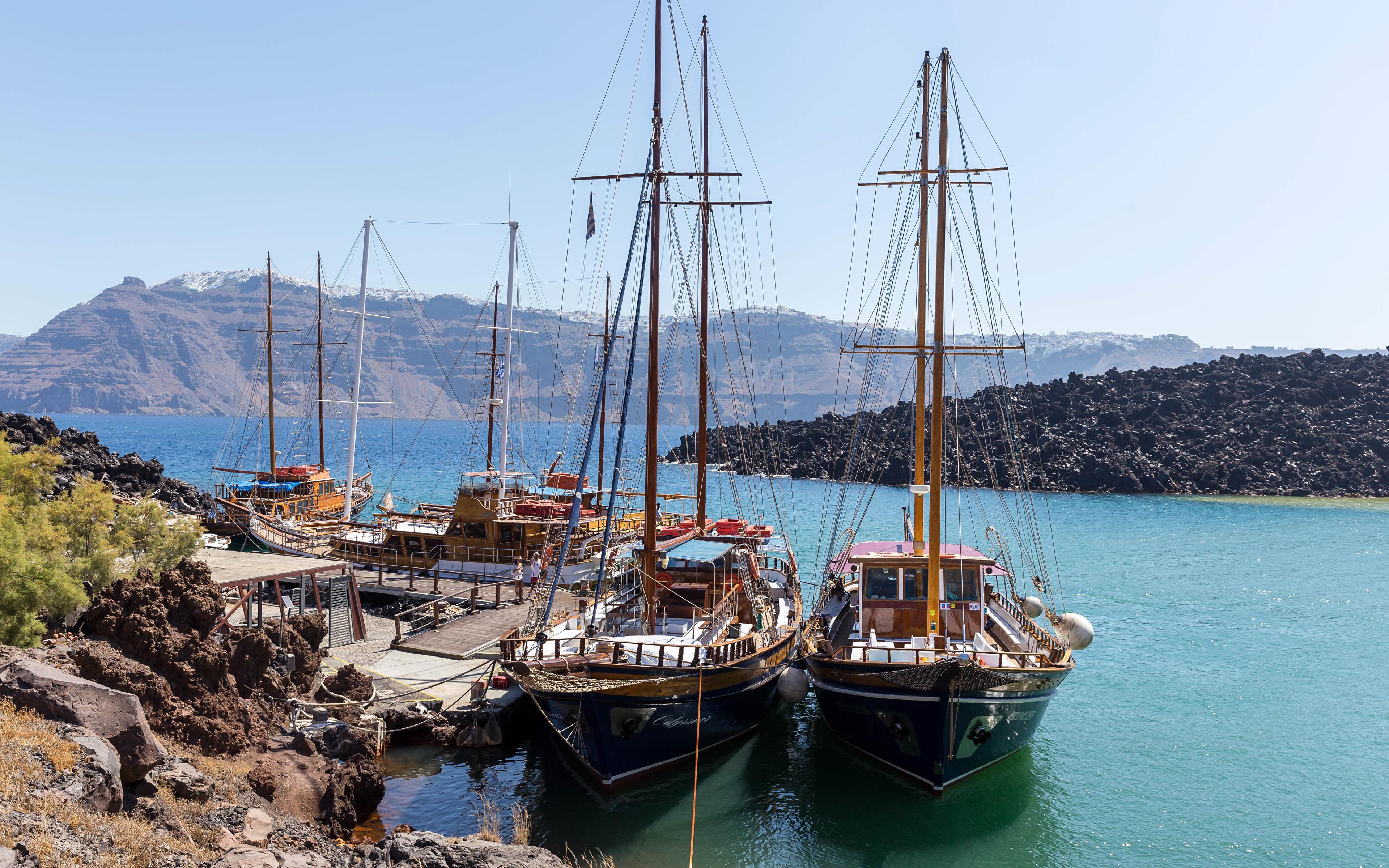 Picture Thera Greece Nature ship Bay Marinas Sailing 3840x2400 Thira Santorini Ships Pier Berth