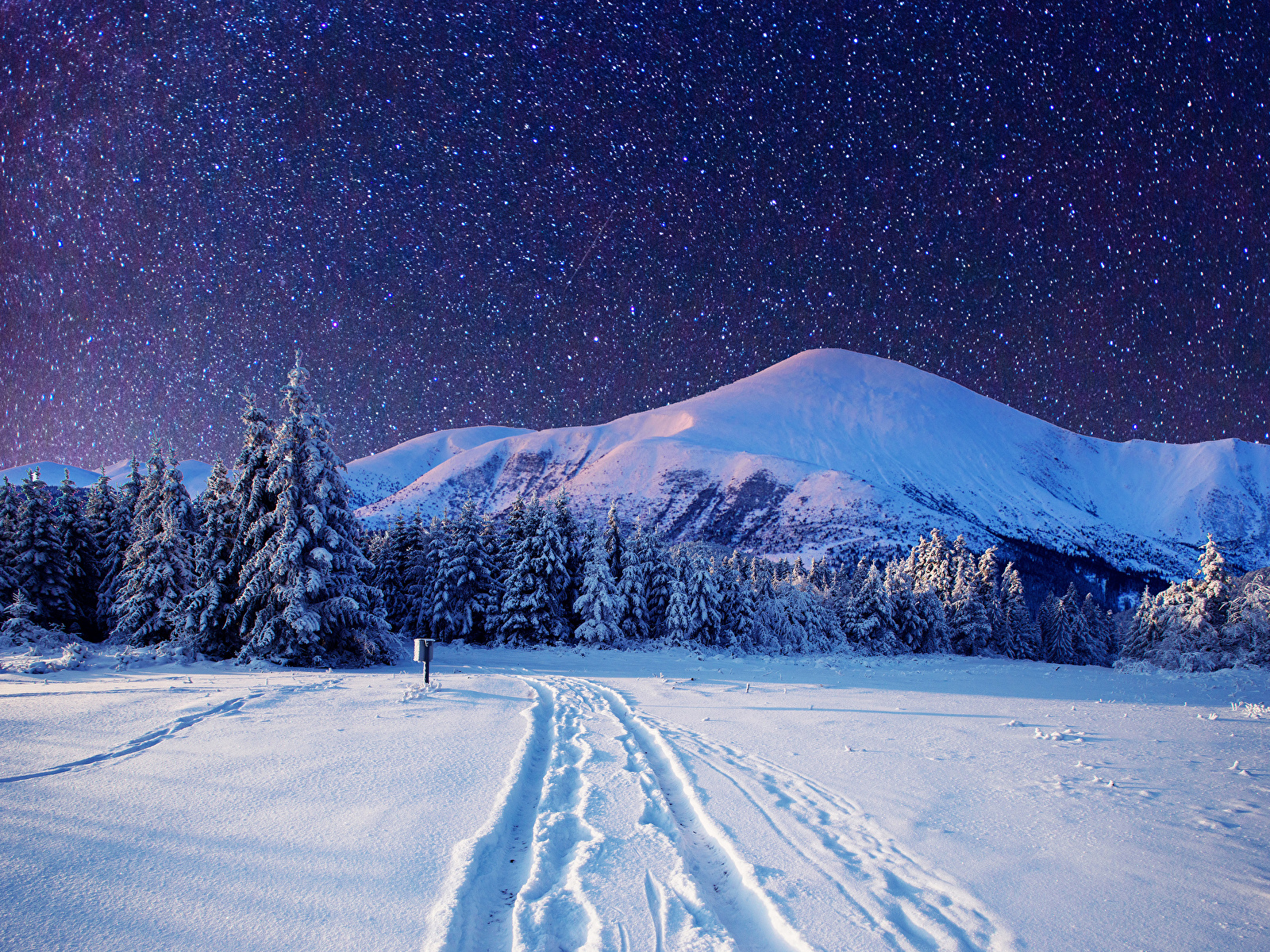 Fonds d'ecran 1600x1200 Saison Hiver Montagnes Forêts Ciel Étoile ...
