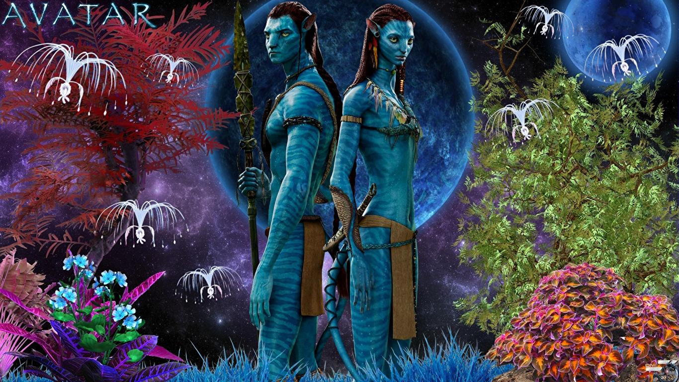Fonds d'ecran 1366x768 Avatar Jake Sully, Neytiri Extraterrestre Deux Cinéma télécharger photo