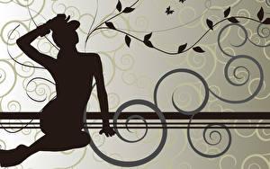 Hintergrundbilder Vektorgrafik Silhouetten  Mädchens