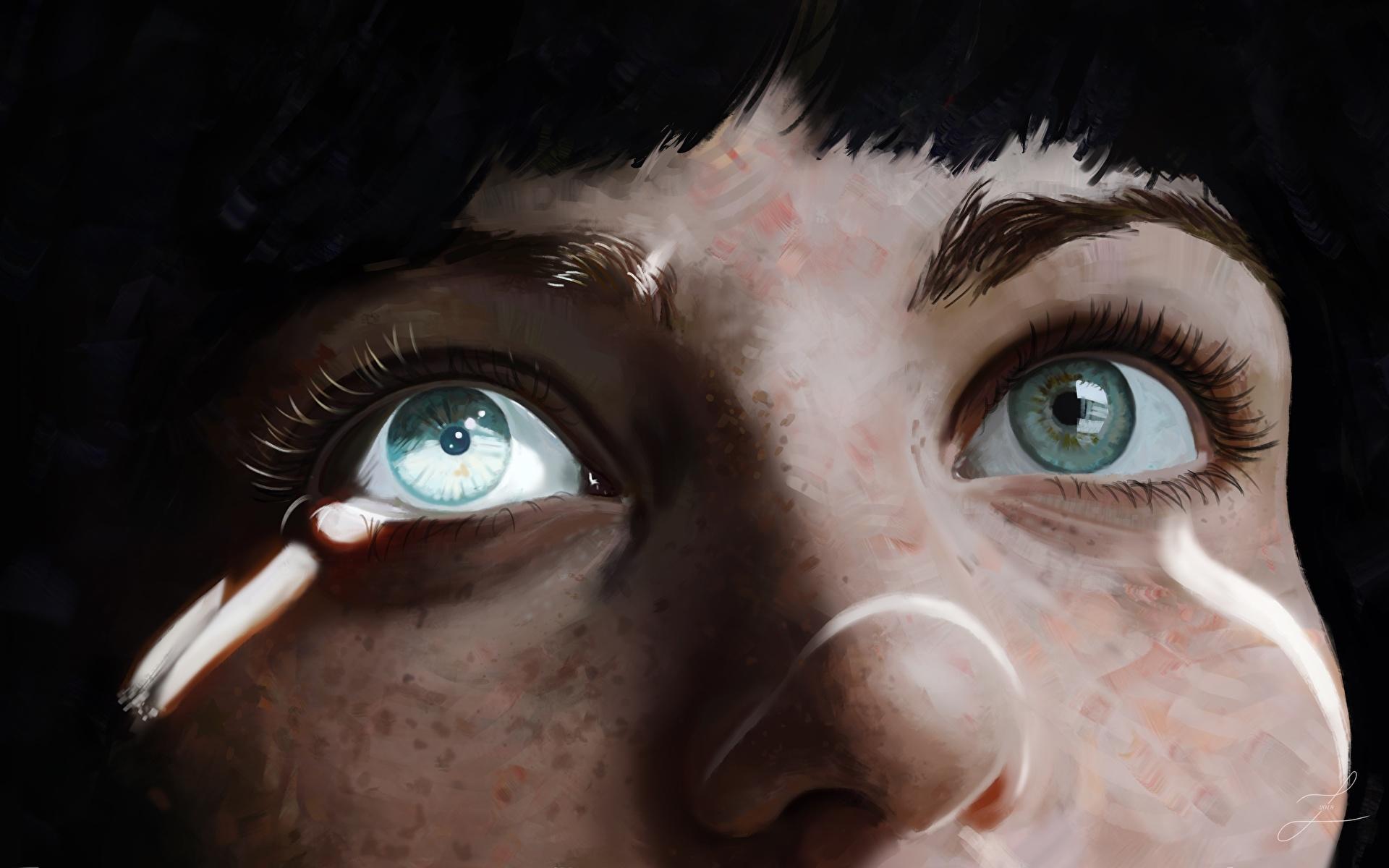 Desktop Hintergrundbilder Augen Nase Mädchens Gezeichnet Großansicht 1920x1200 junge frau junge Frauen hautnah Nahaufnahme