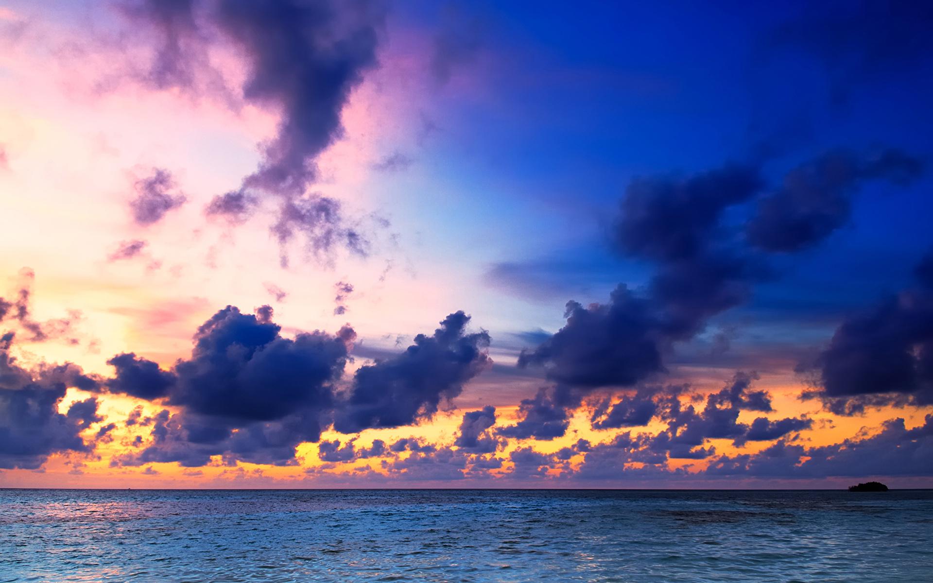 壁紙 19x10 モルディブ 熱帯 海 朝焼けと日没 空 雲 自然 ダウンロード 写真