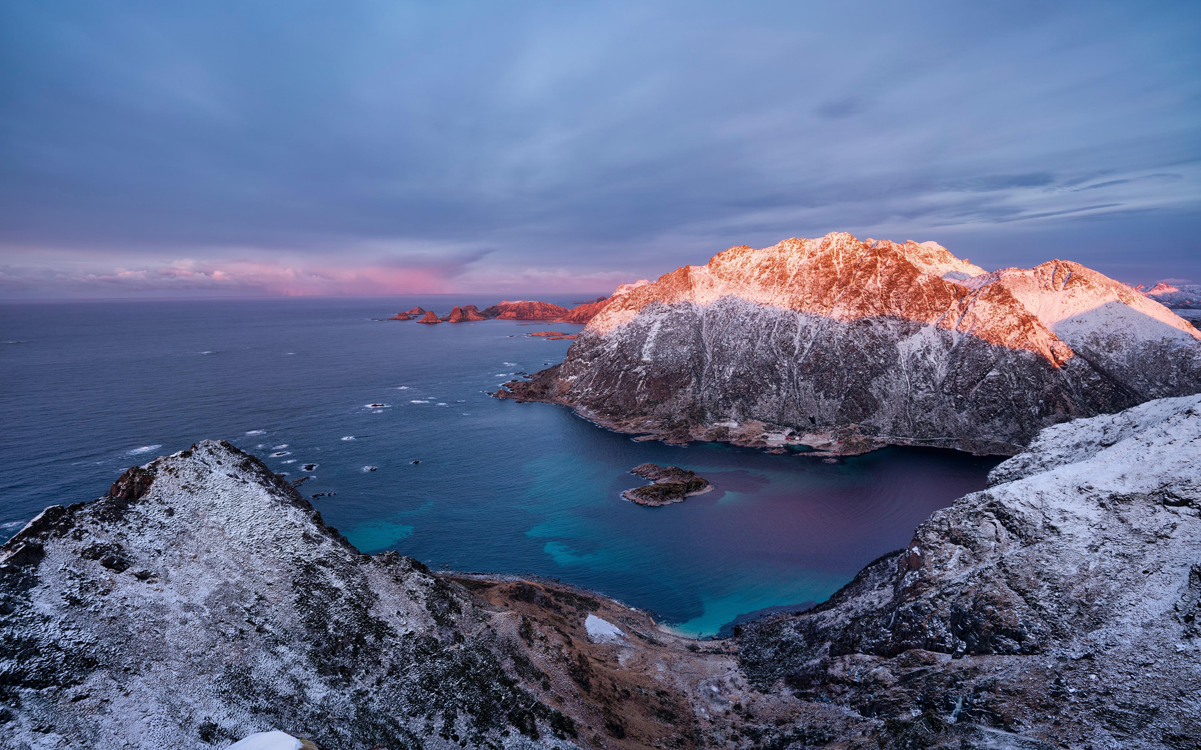 Tapeta Lofoty Norwegia góra skała Natura Wybrzeże 3840x2400 Góry Turnia skałki przyroda