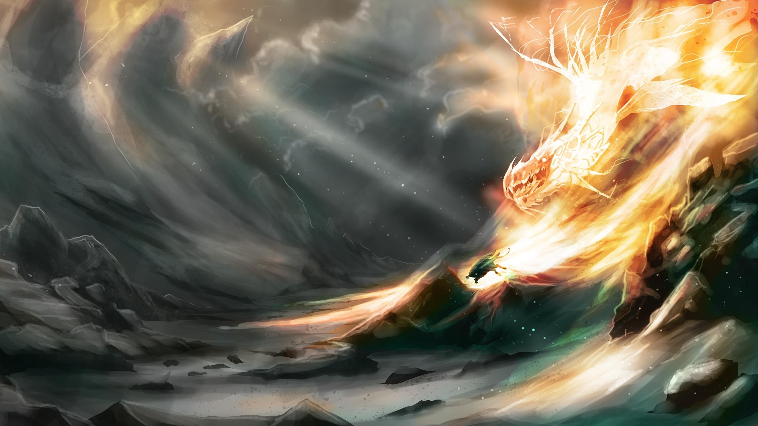 Photos Dragons Fantasy Flame 2560x1440