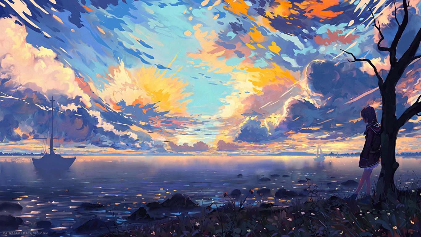 壁紙 1366x768 海岸 小さな女の子 雲 ファンタジー アニメ ダウンロード 写真