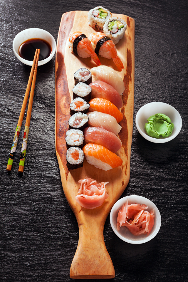 Picture Sushi Fish - Food Food Chopsticks Seafoods Gray background 640x960 for Mobile phone