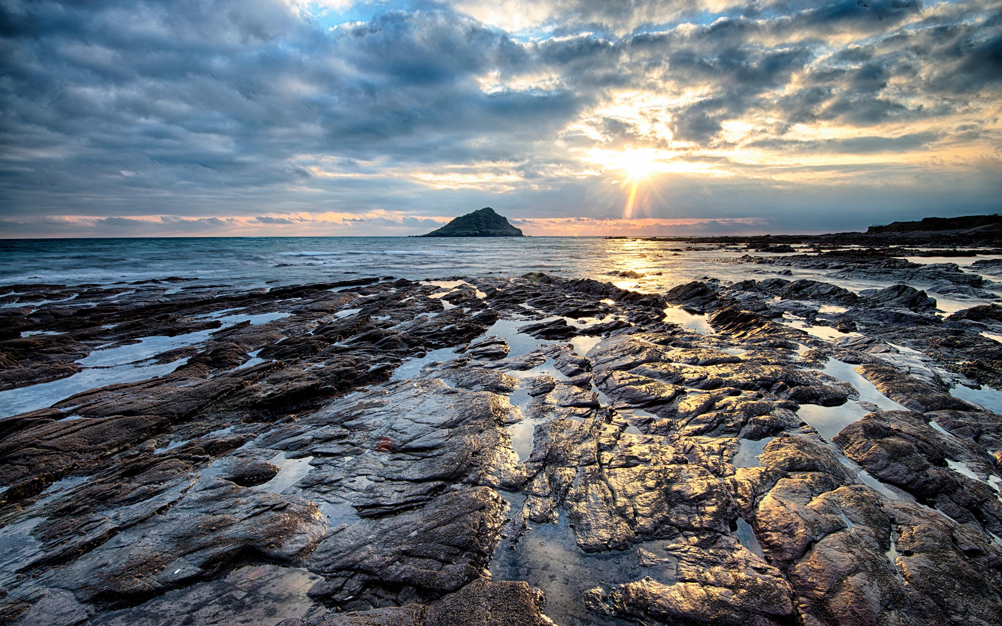 Images England Wembury Nature Morning Coast Stones Clouds 3840x2400 stone