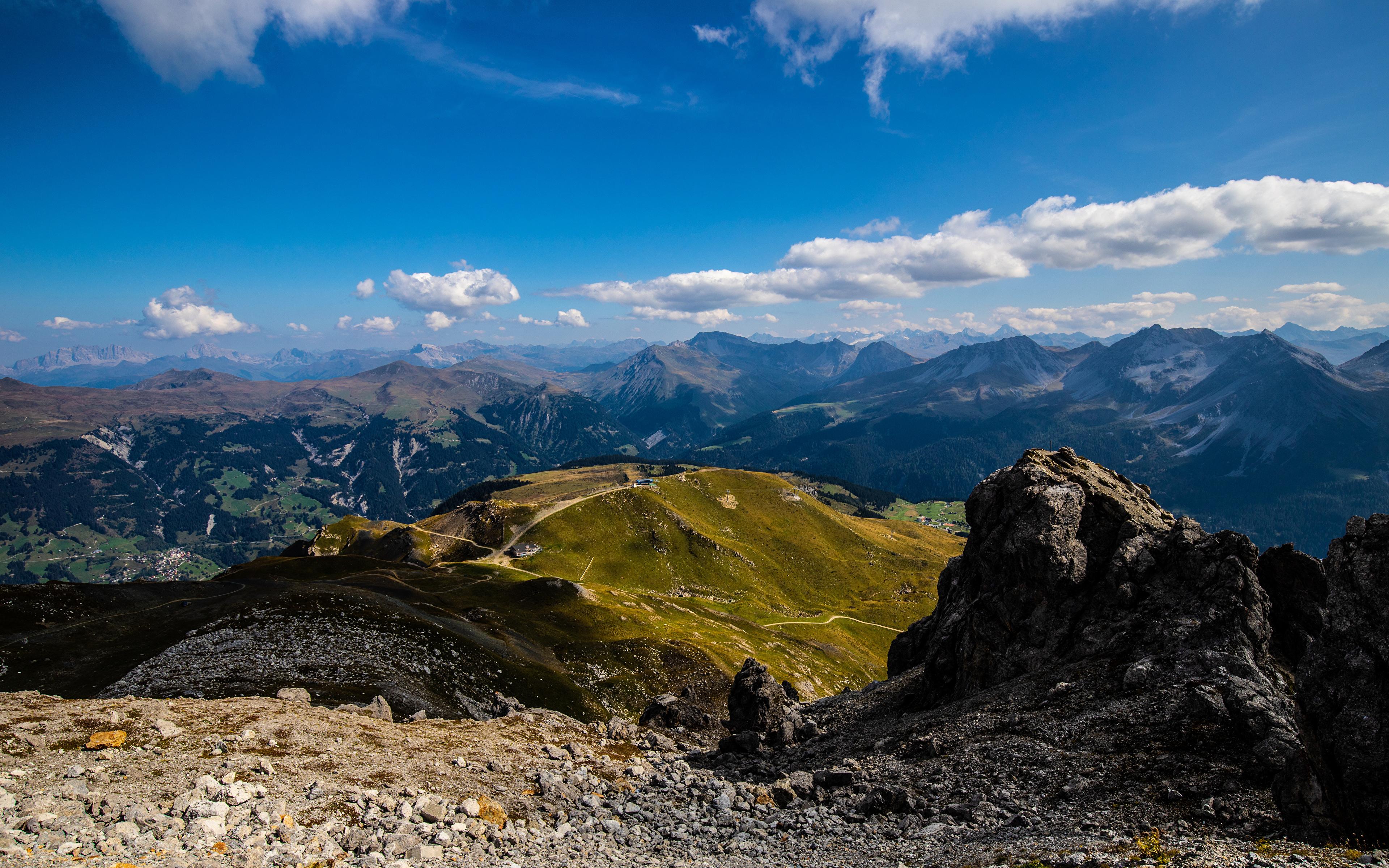 Фото альп Швейцария Graubünden гора Природа Небо Облака 3840x2400 Альпы Горы облако облачно