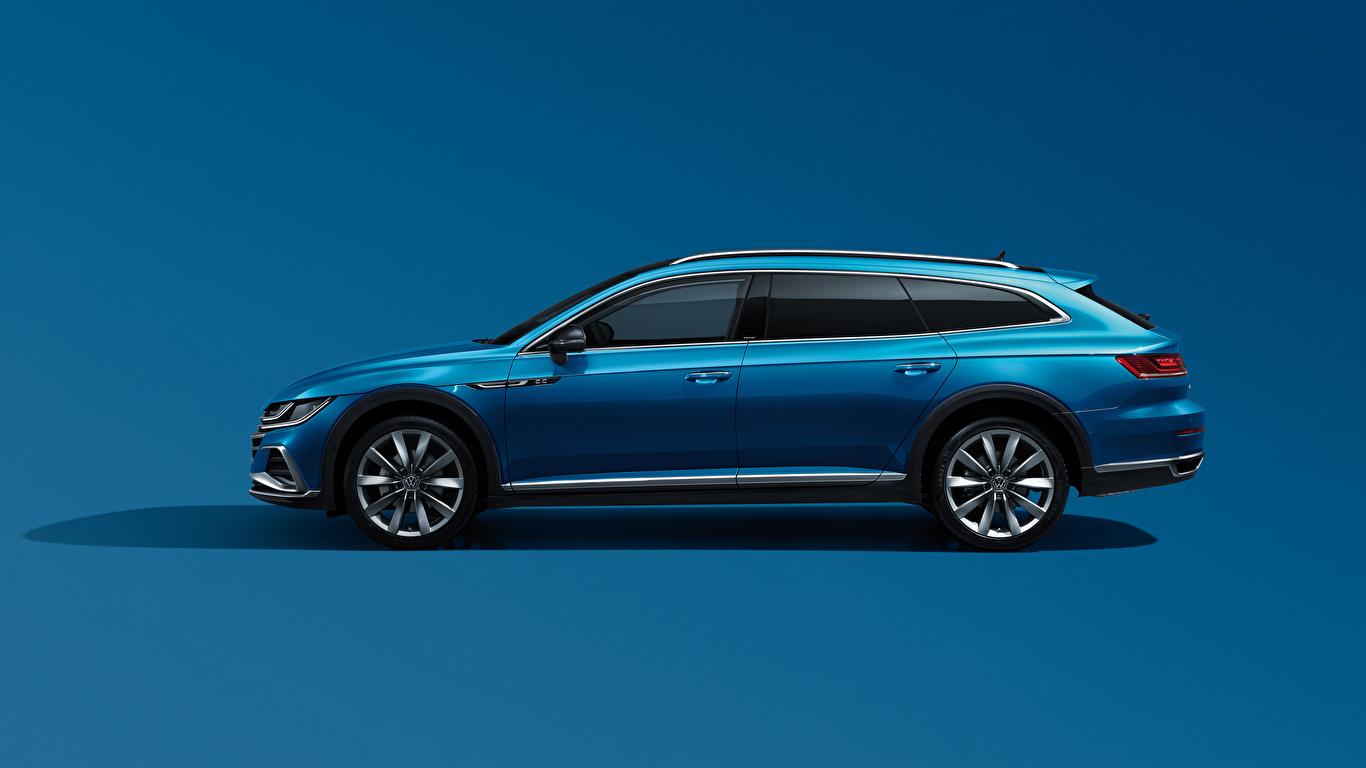 Desktop Hintergrundbilder Volkswagen Kombi CC Shooting Brake 380 TSI, China, 2020 Blau Autos Seitlich Metallisch Farbigen hintergrund 1366x768 auto automobil