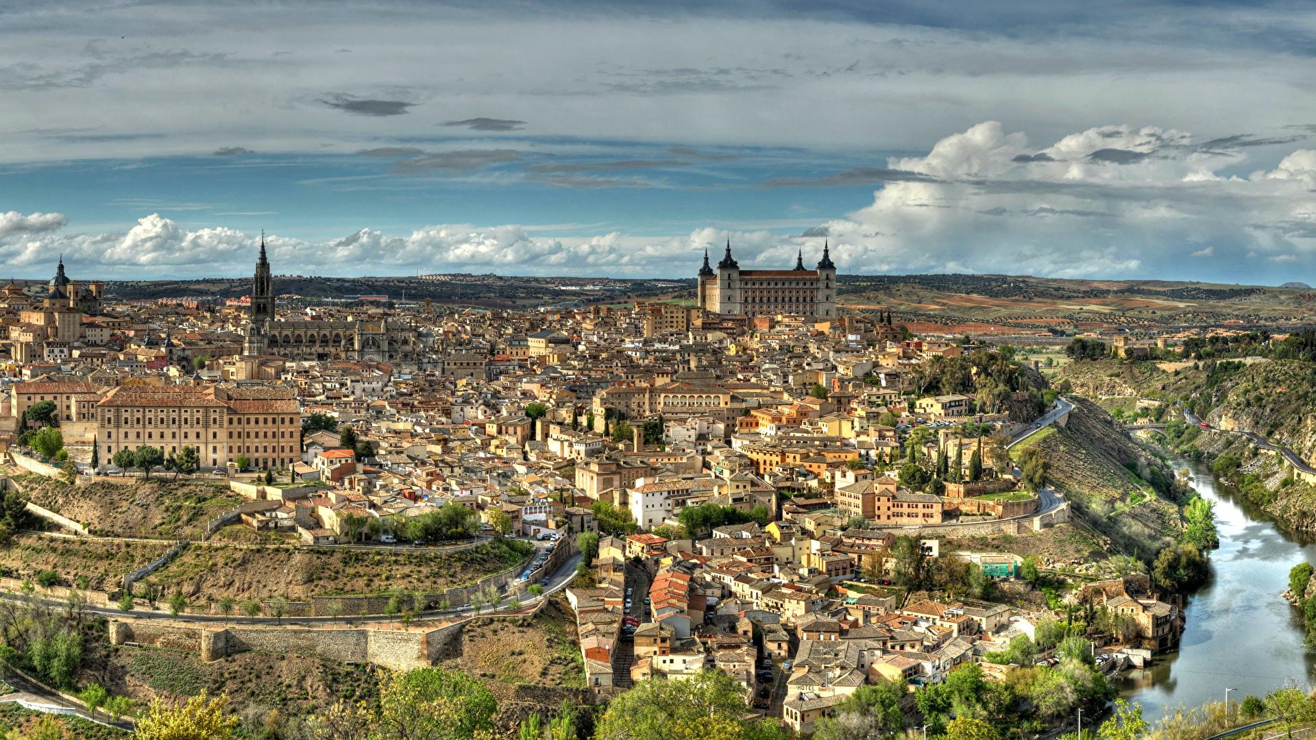 壁紙 19x1080 スペイン 住宅 トレド 都市 ダウンロード 写真