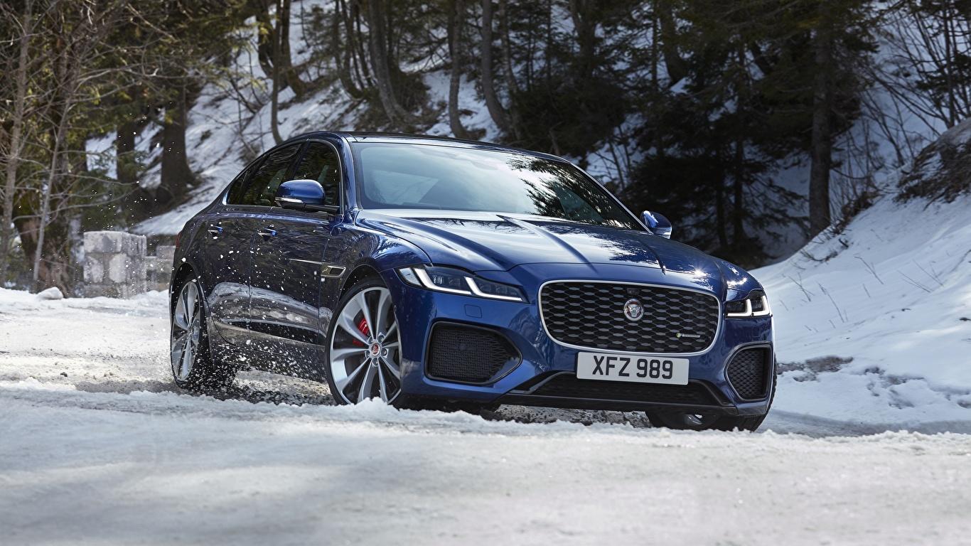 Bilder Jaguar Crossover xf, p300, awd, r-dynamic Blau Winter Schnee Autos 1366x768 Softroader auto automobil