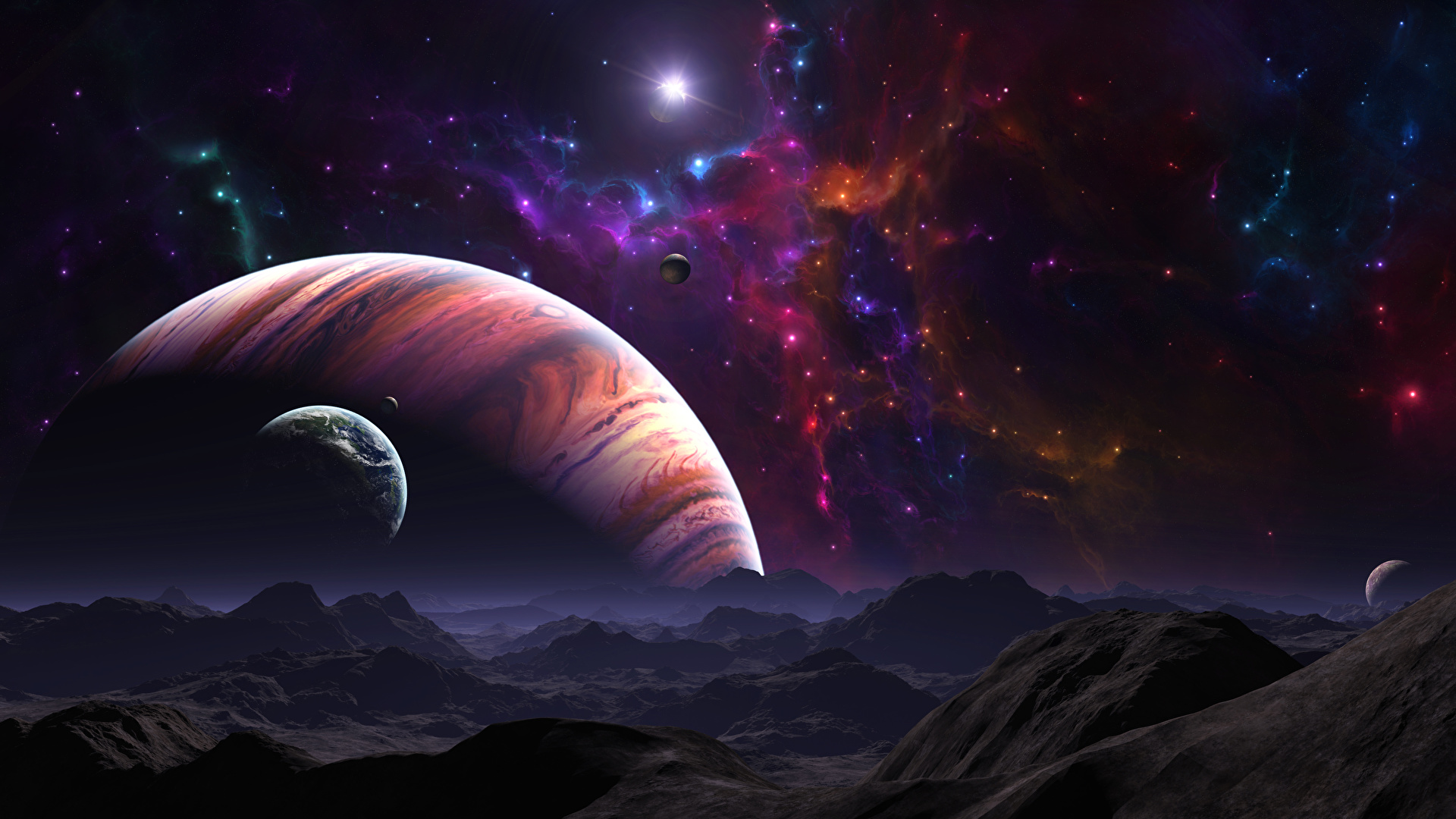 Picture Planets Surface Of Planets Space 3d Graphics 1920x1080