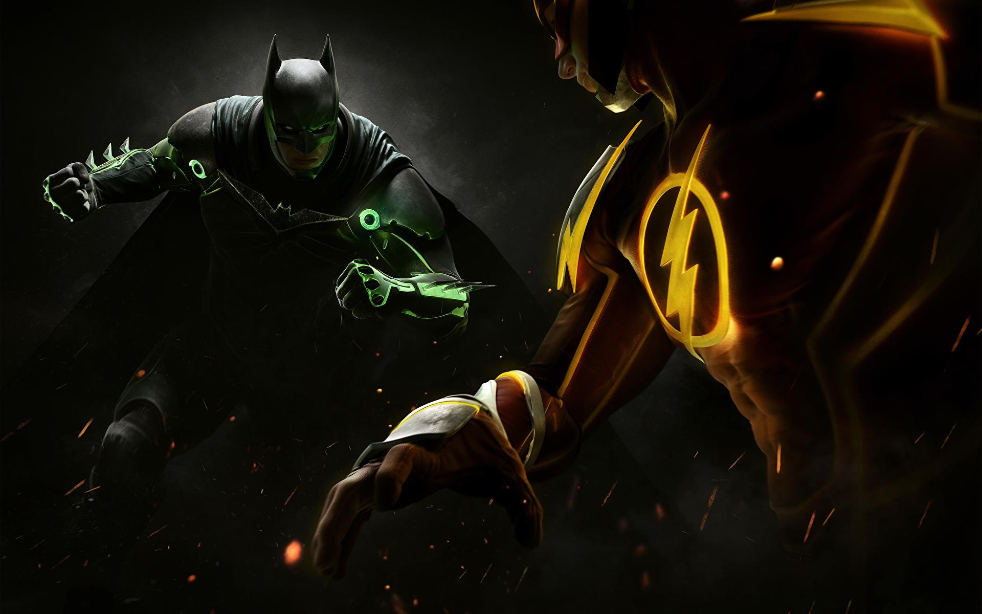 Photos Injustice 2 Heroes comics Batman hero The Flash hero vdeo game 1920x1200 superheroes Games
