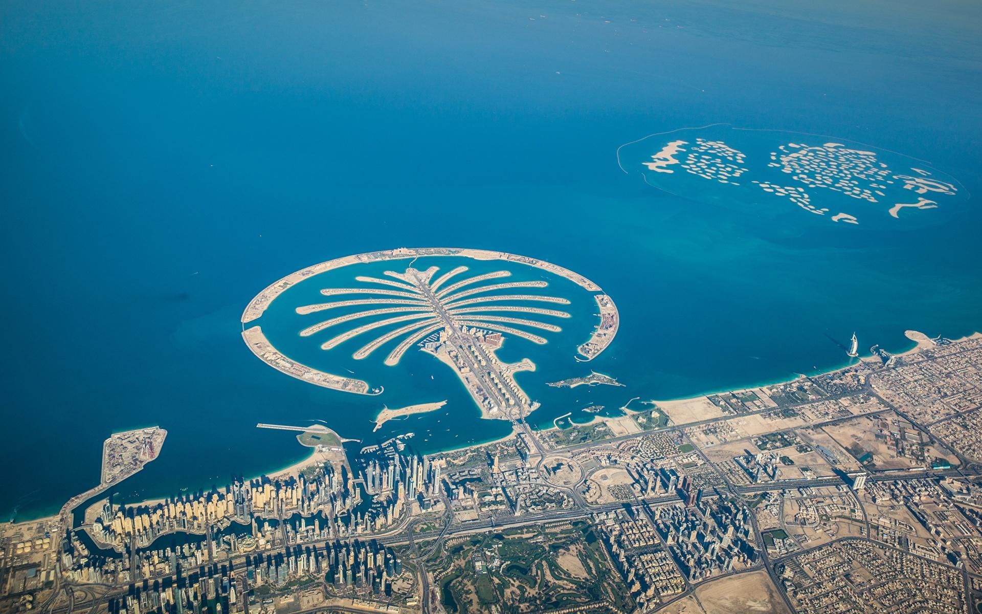 Photo Dubai Palm Jumeirah Island From above Cities 1920x1200