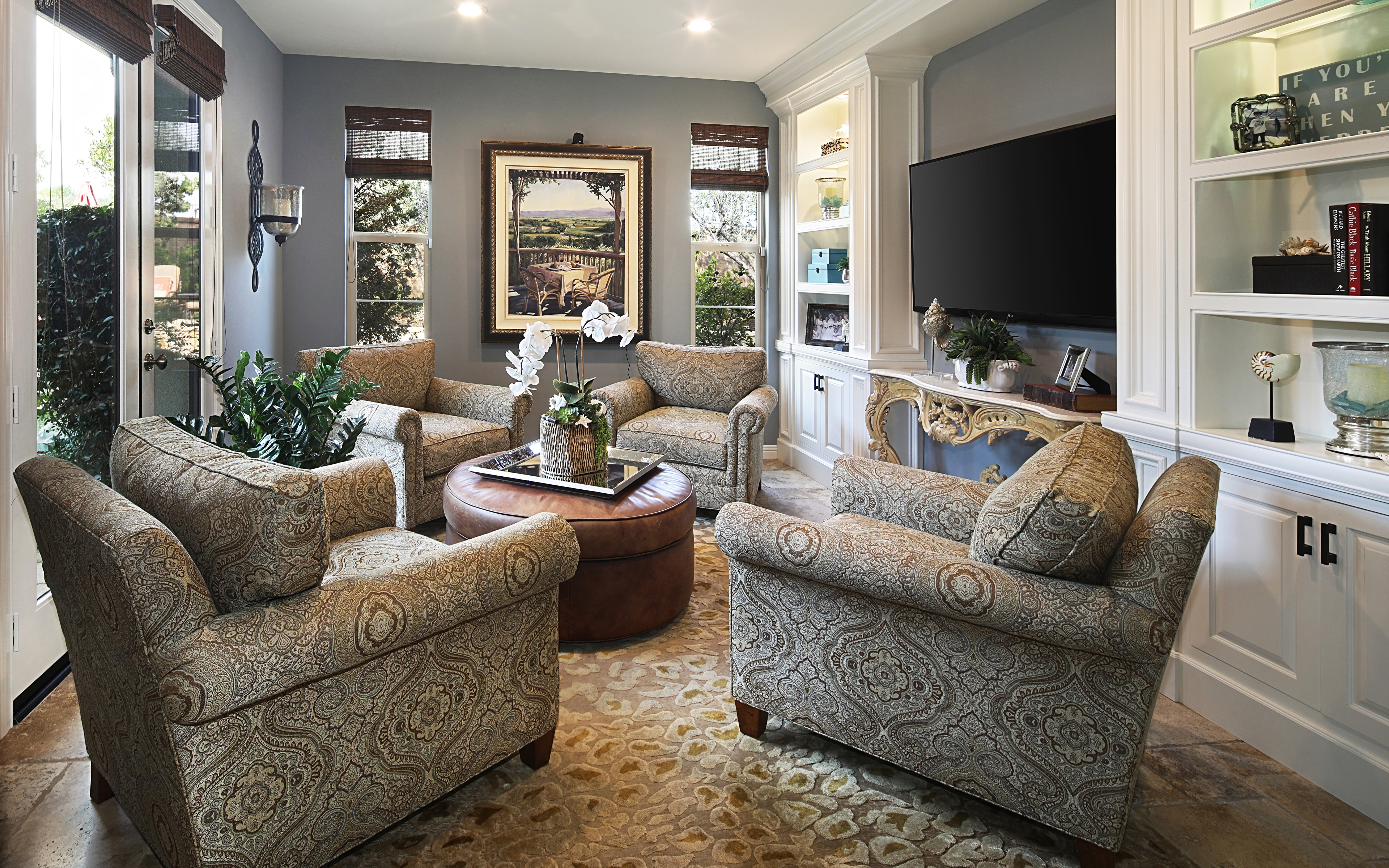 Photo lounge sitting room Interior Carpet Wing chair Design 3840x2400 Living room Rug Armchair
