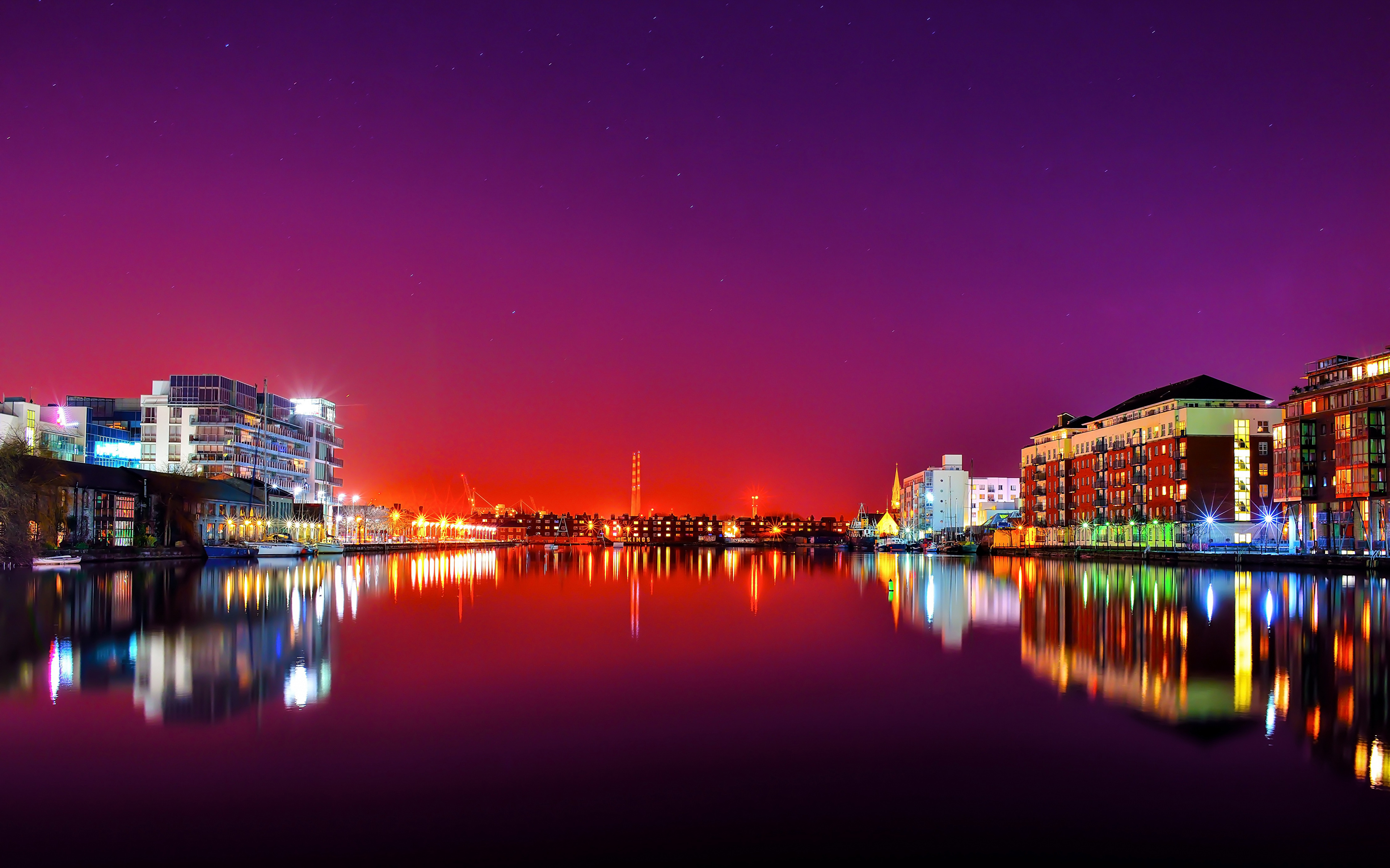 Images Cities Ireland River Dublin Night Building 3840x2400