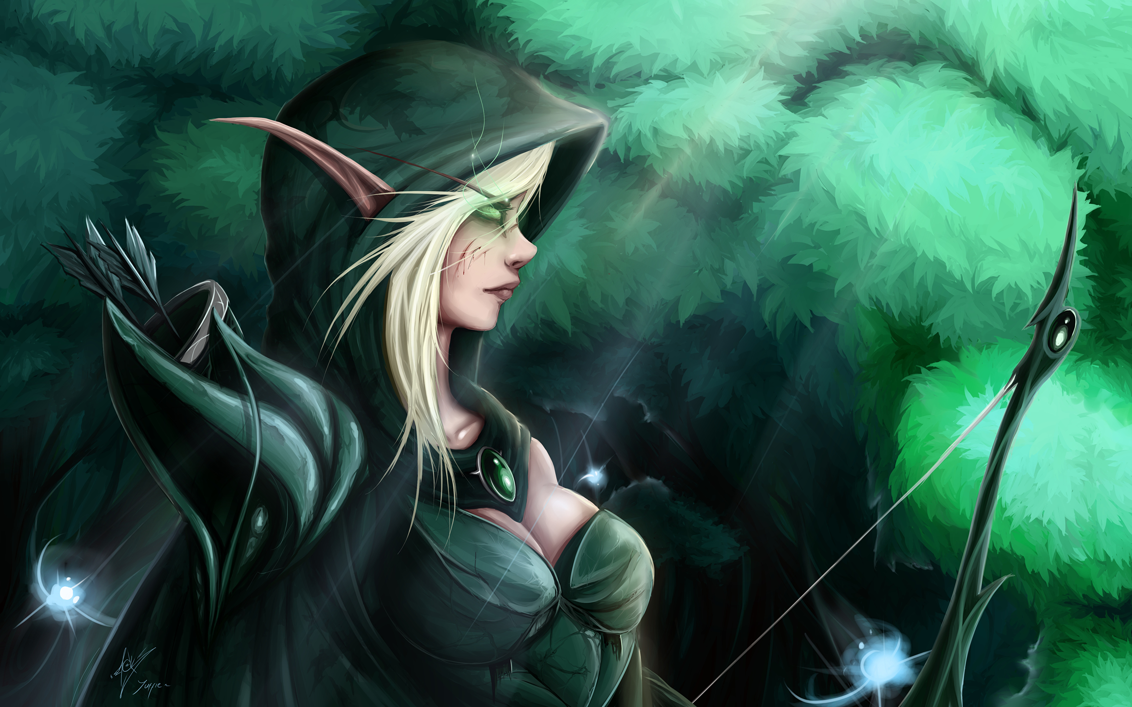 Pictures World Of Warcraft Archers Elf Female Fantasy Vdeo
