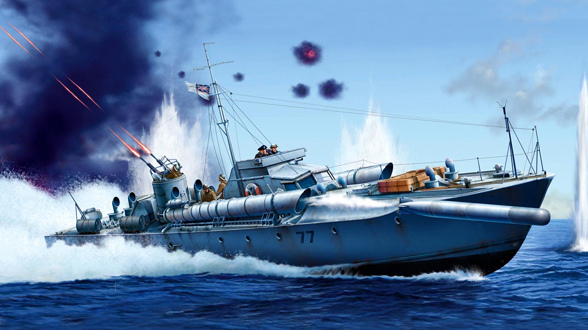 Fondos De Pantalla 1920x1080 Dibujado Lancha Motora Torpedo