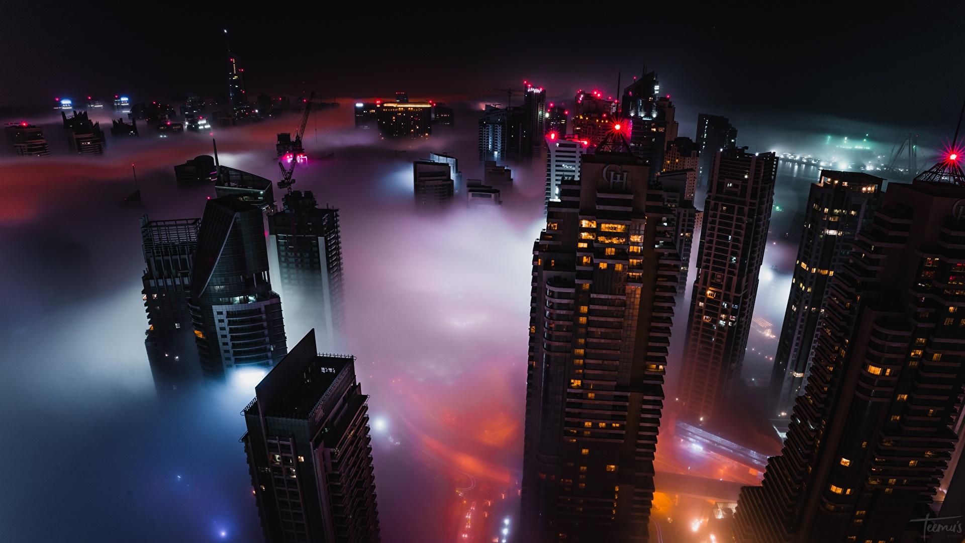 Pictures Dubai Emirates UAE Fog night time Skyscrapers Cities Building 1920x1080 Night Houses