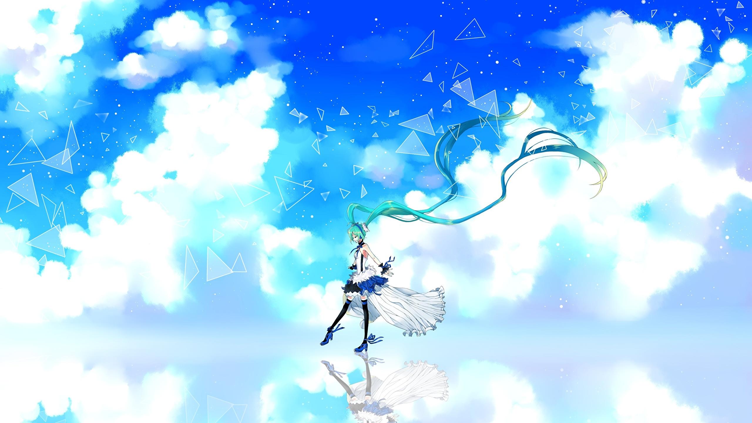壁紙 2560x1440 ボーカロイド 初音ミク Cu Riyan 7th Dragon 雲 アニメ 少女 ダウンロード 写真