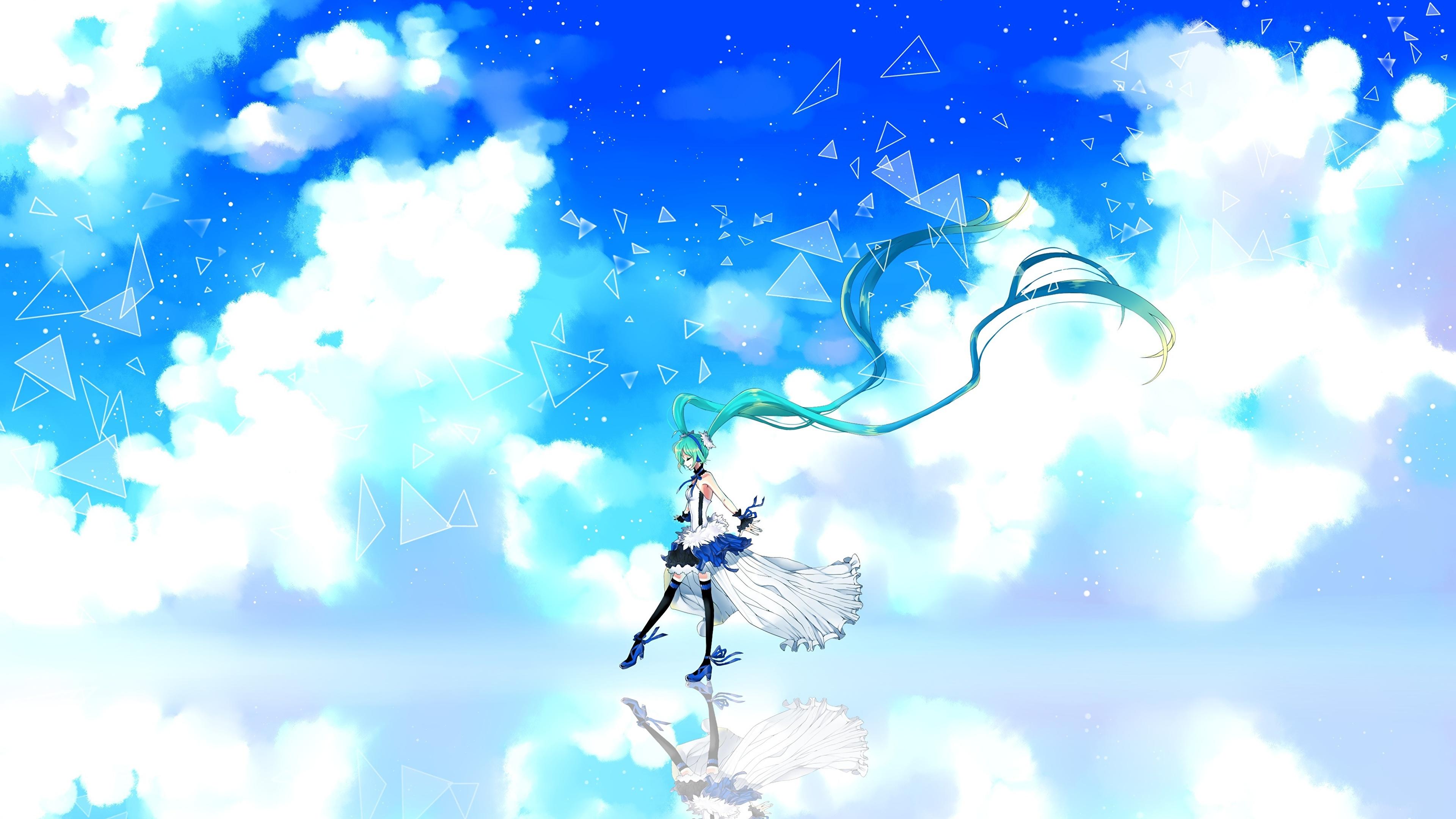 壁紙 3840x2160 ボーカロイド 初音ミク Cu Riyan 7th Dragon 雲