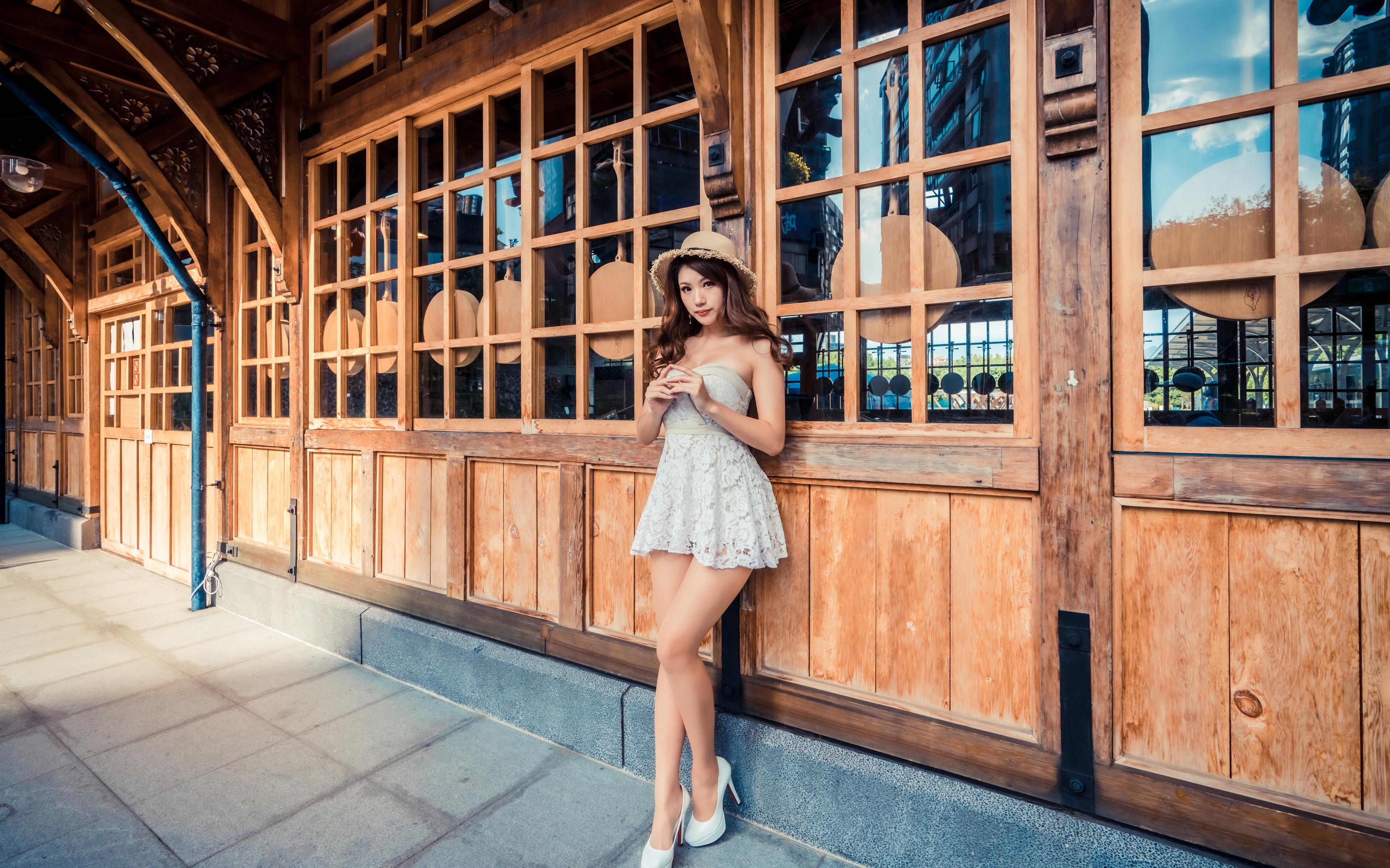 3840x2400 Asiático Pose Vestido Sombrero de Contacto visual mujer joven, mujeres jóvenes, asiática, posando Chicas