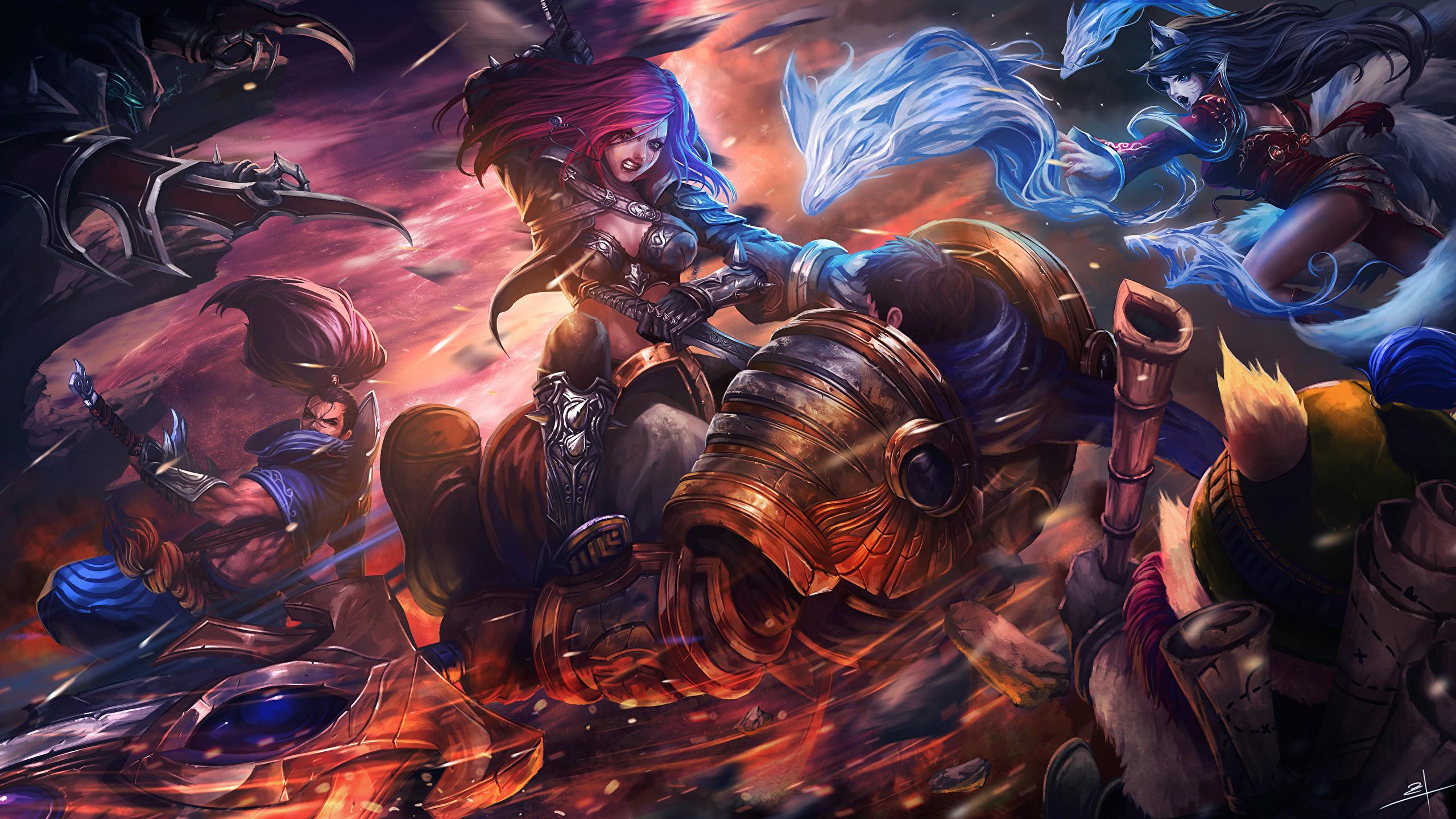 Photo Lol Warrior Katarina Girls Fantasy Vdeo Game 2560x1440