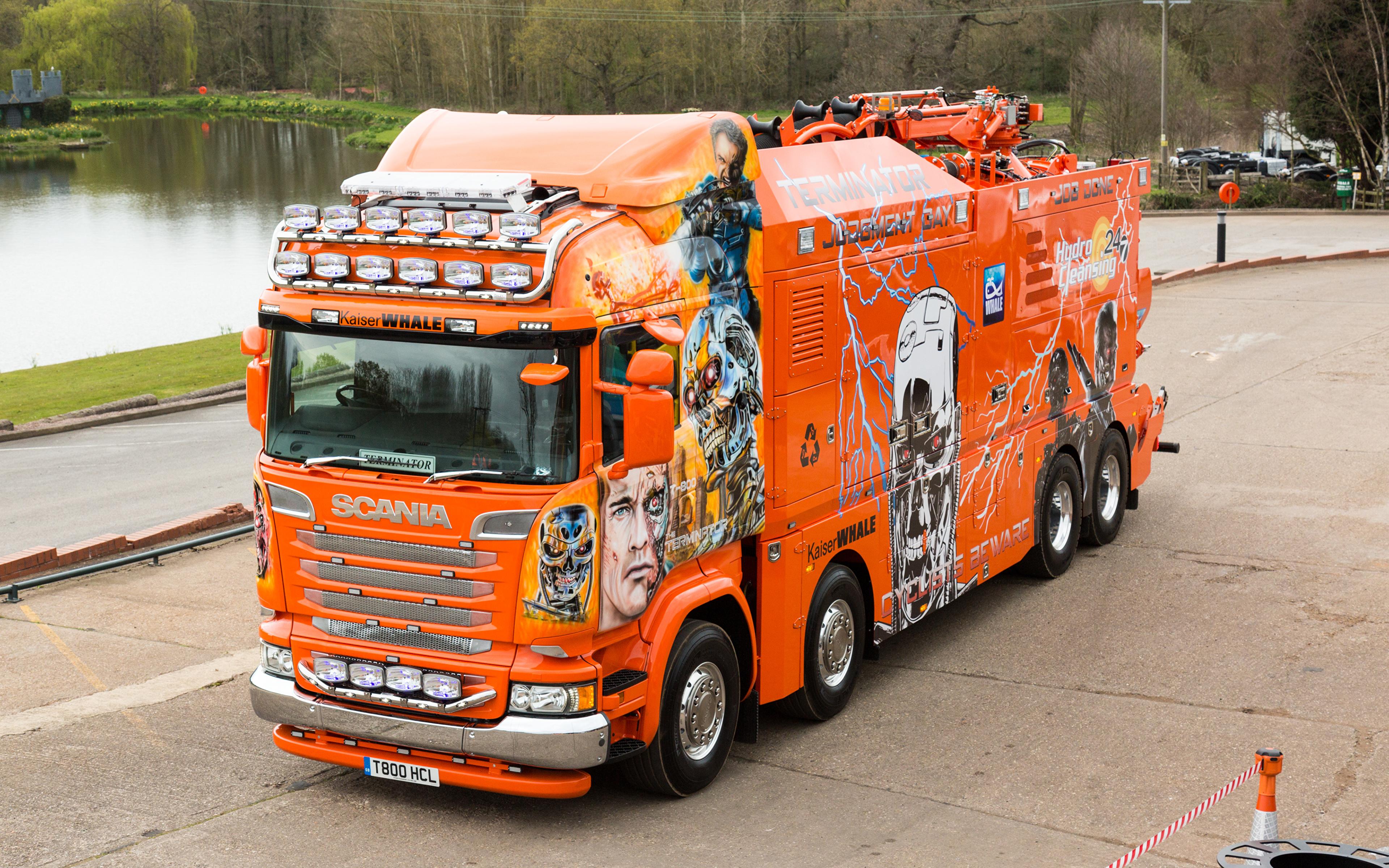 Photos Scania Tuning Trucks 2016 R730 Highline  Terminator Orange Cars 3840x2400