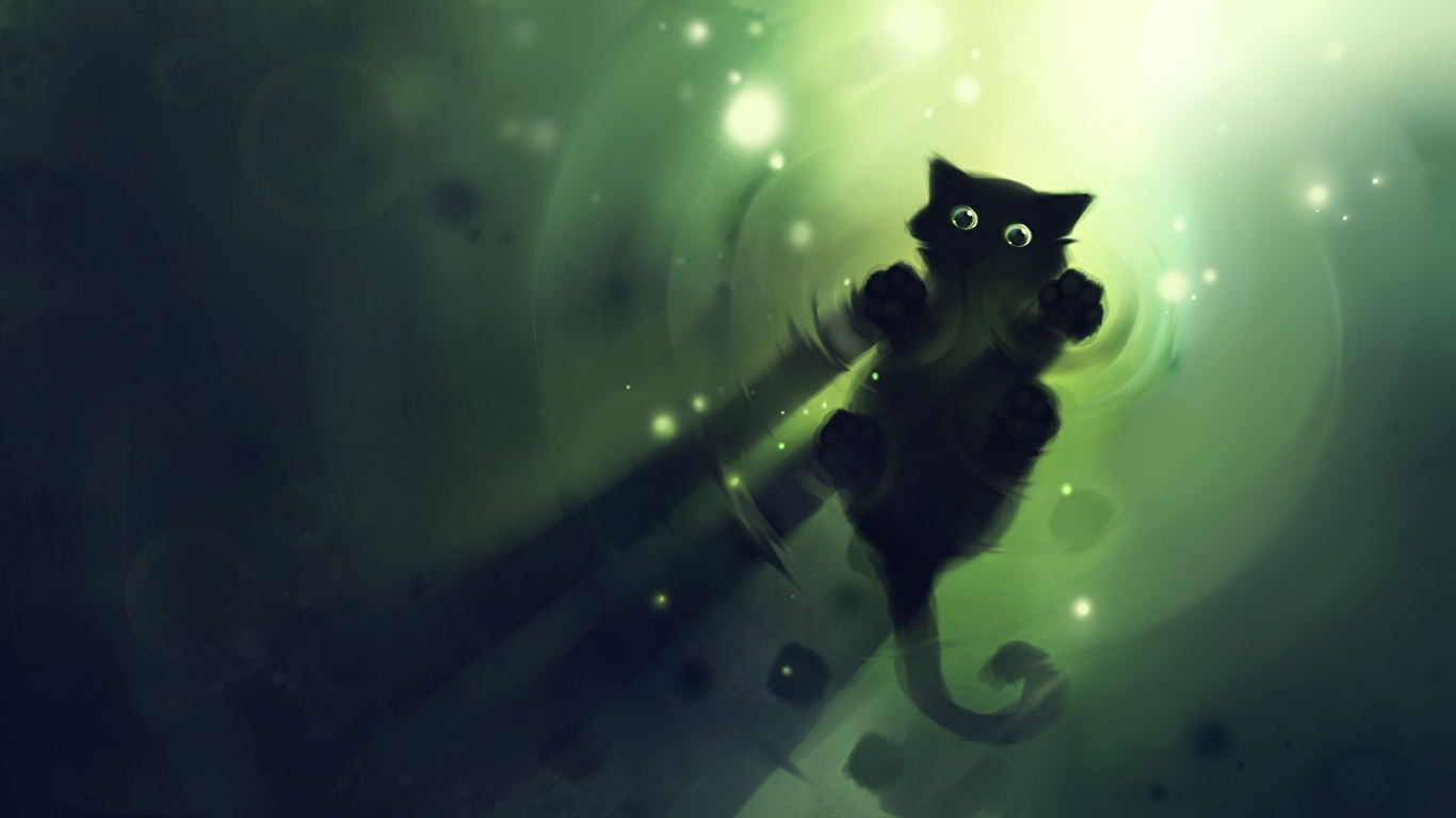 Desktop Wallpapers Cats Animals Painting Art 1366x768
