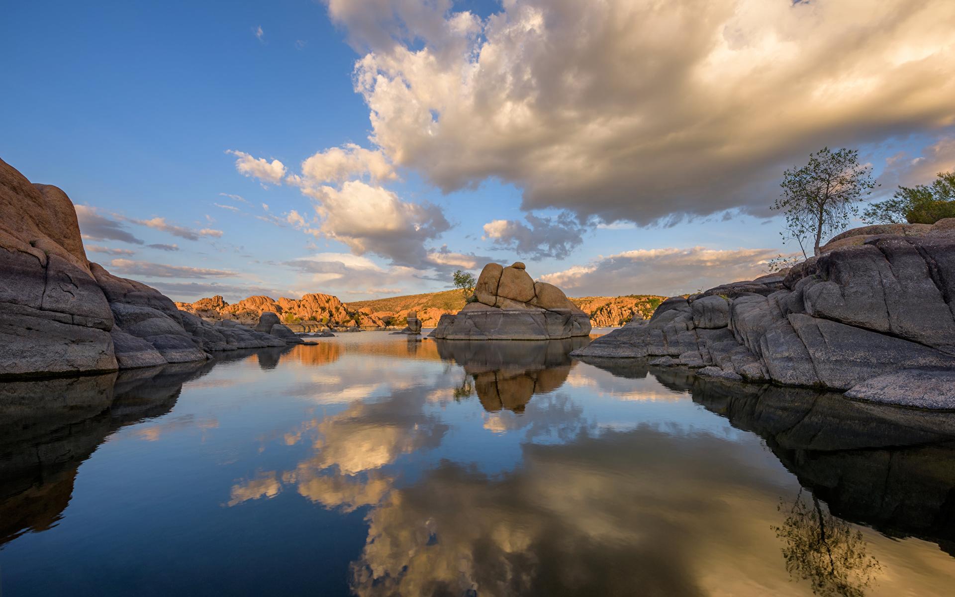 壁紙 19x10 アメリカ合衆国 湖 Watson Lake Prescott Arizona 岩 雲 倒影 自然 ダウンロード 写真