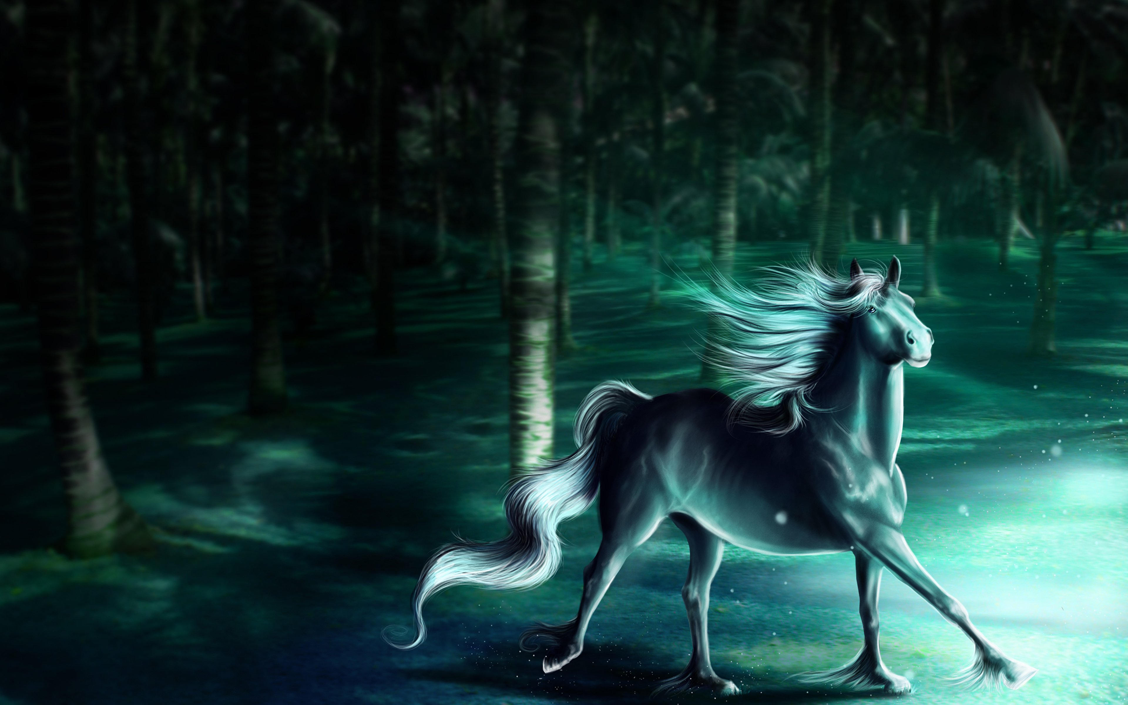 Image Horses Fantasy Magical Animals Animals Painting Art 3840x2400
