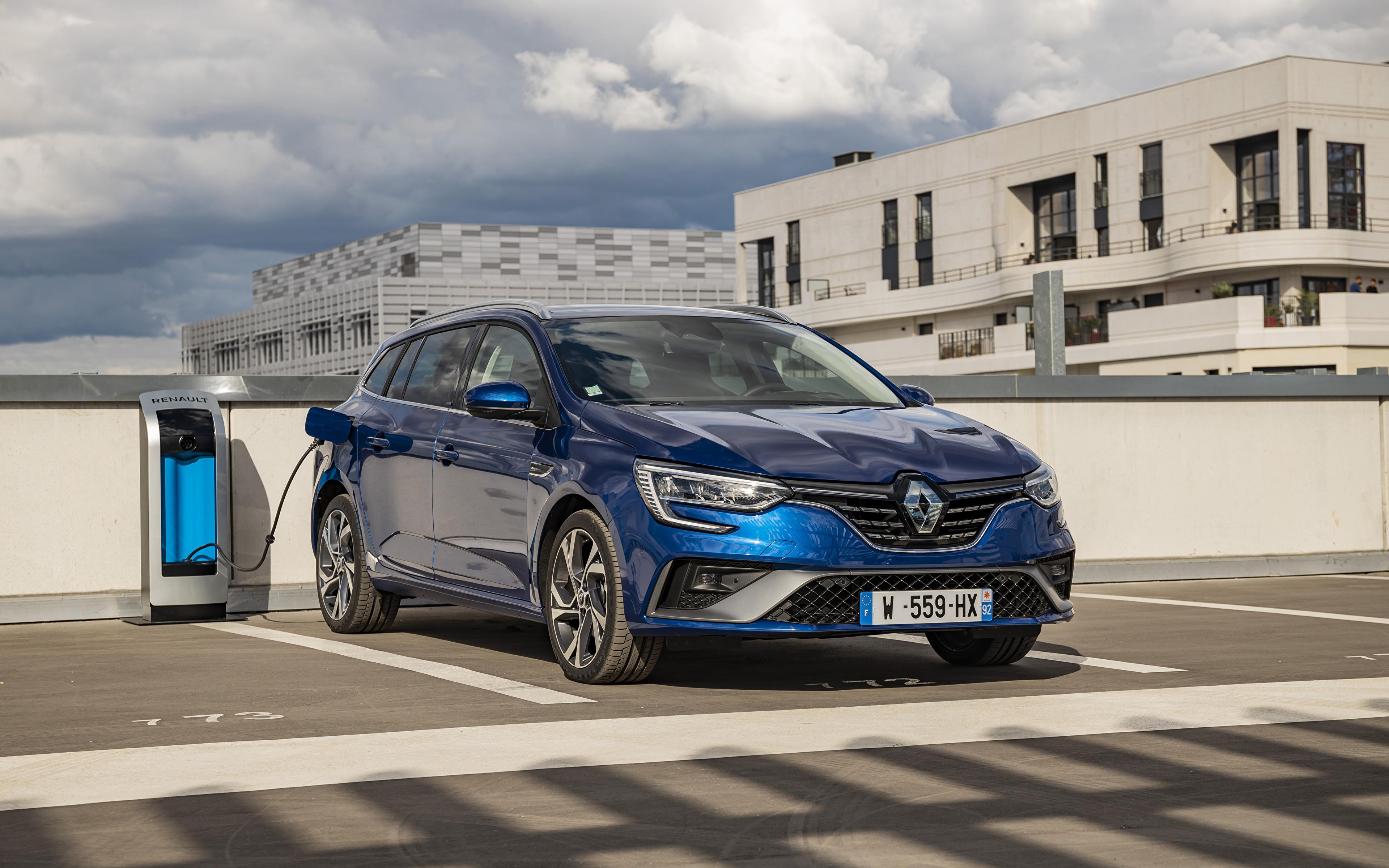 Bilder von Renault Parkplatz Hybrid Autos Blau Autos Metallisch 3840x2400 parken geparktes auto automobil