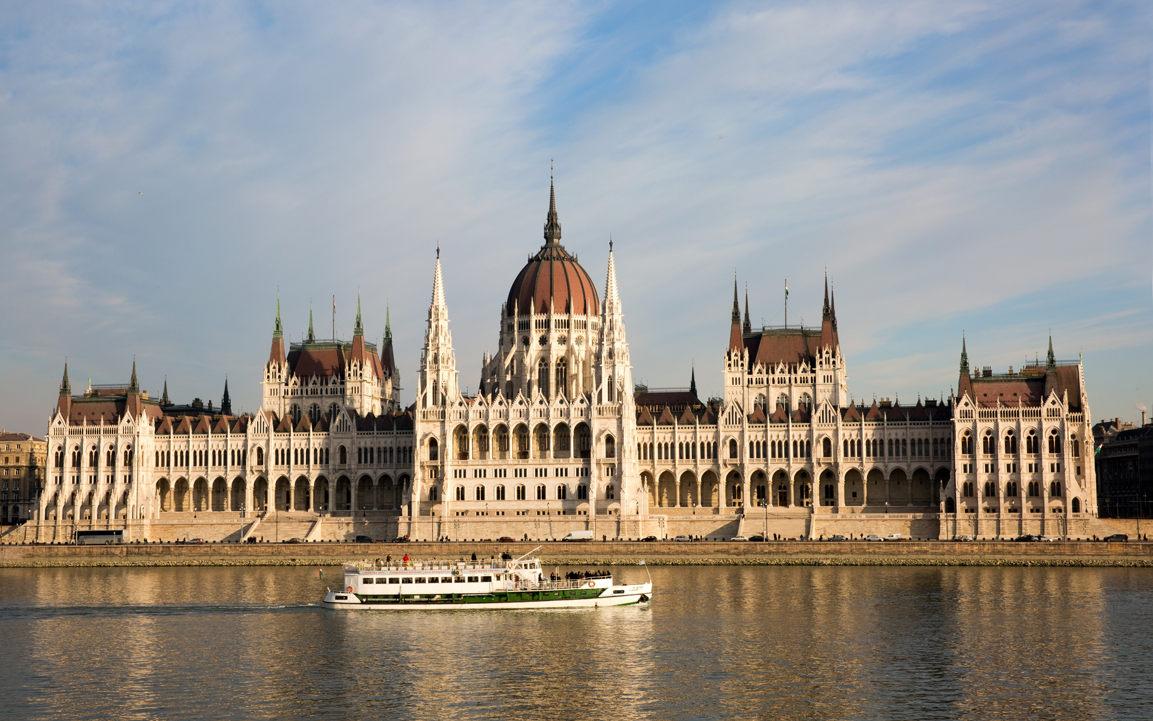 Image Budapest Hungary Danube Riverboat river Cities 3840x2400 Rivers