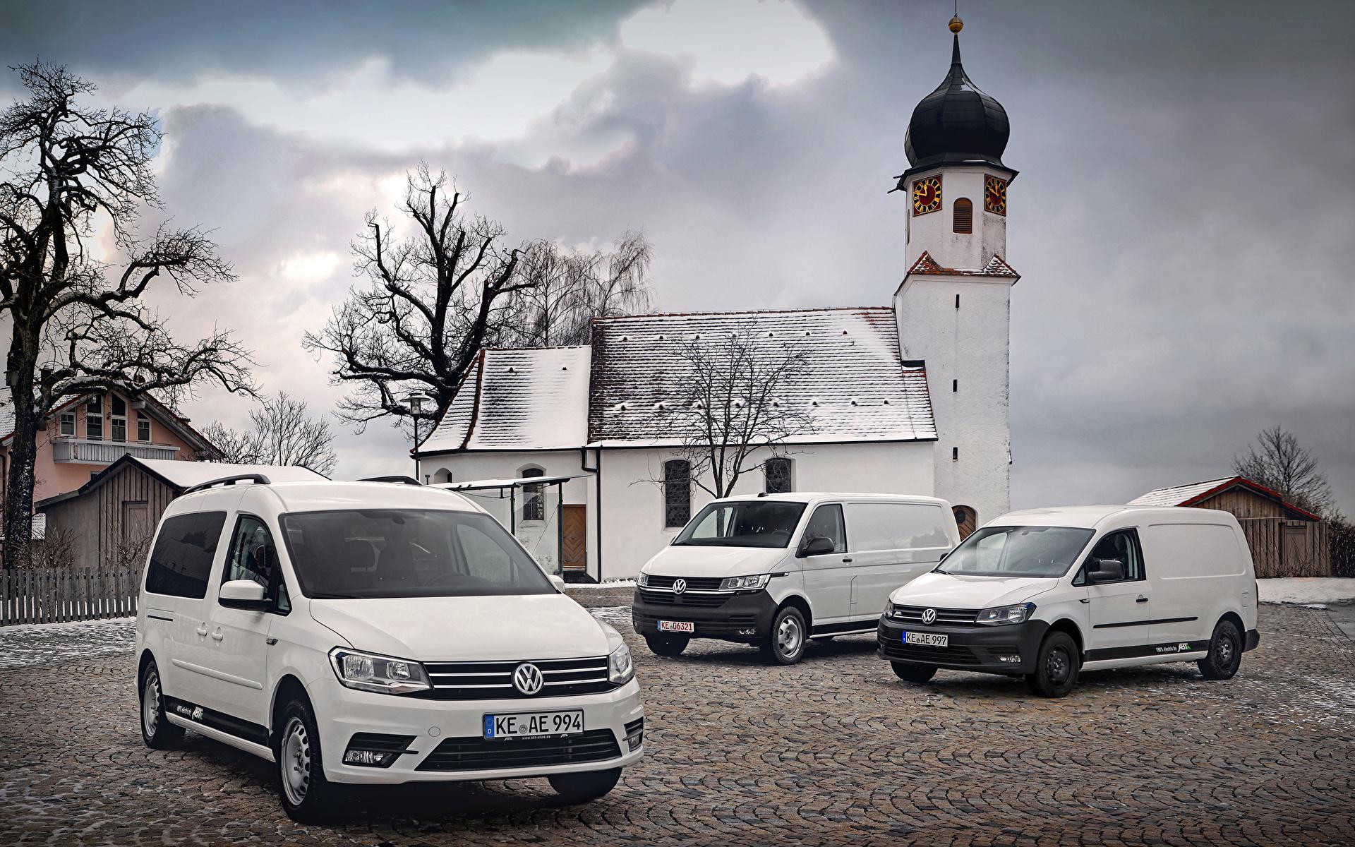 Desktop Hintergrundbilder Volkswagen Caddy, Transporter Weiß auto Drei 3 1920x1200 Autos automobil