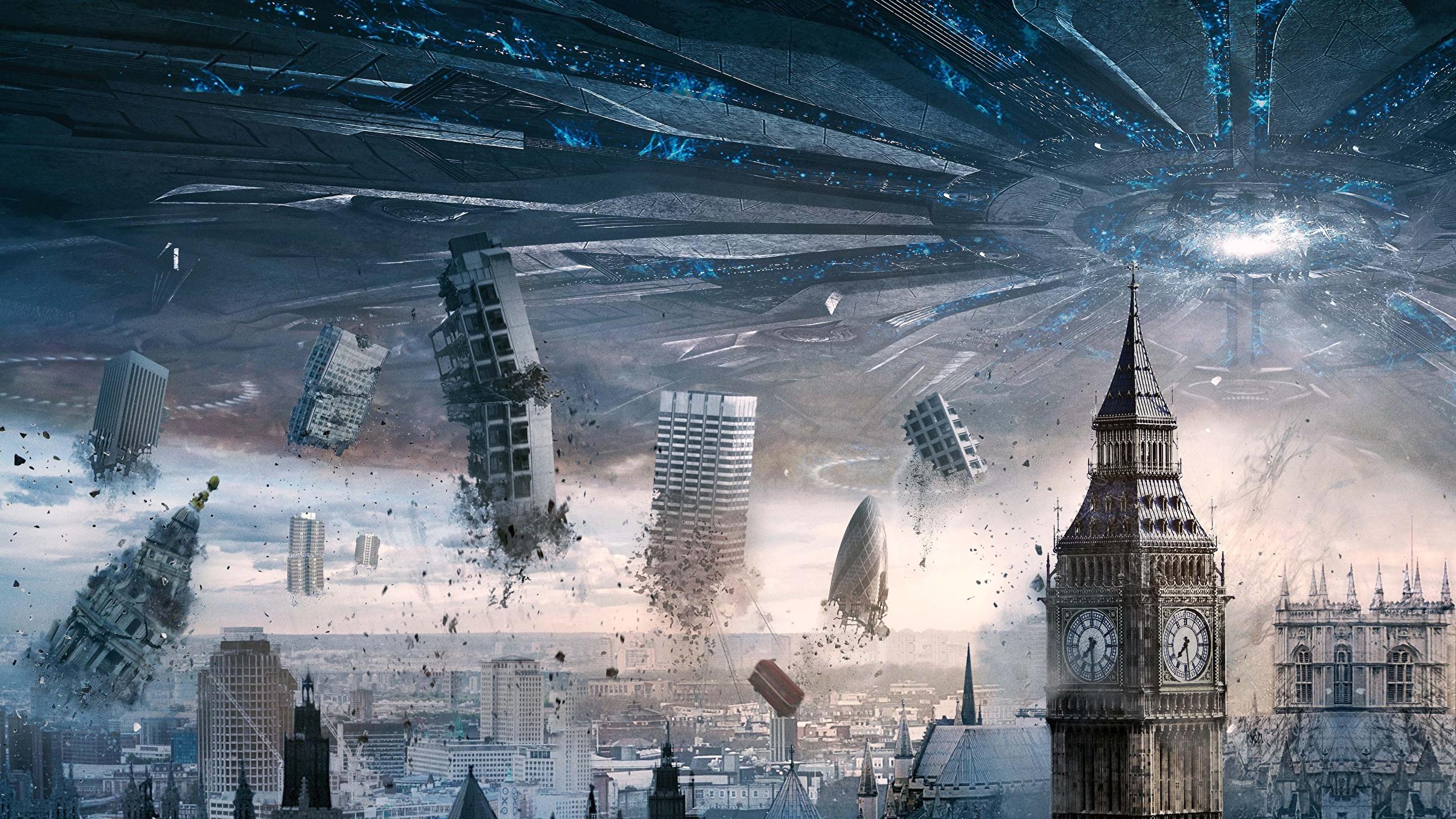 Fonds D Ecran 2560x1440 Technique Fantasy Catastrophes Angleterre Independence Day Resurgence Big Ben Ovni Cinema Telecharger Photo