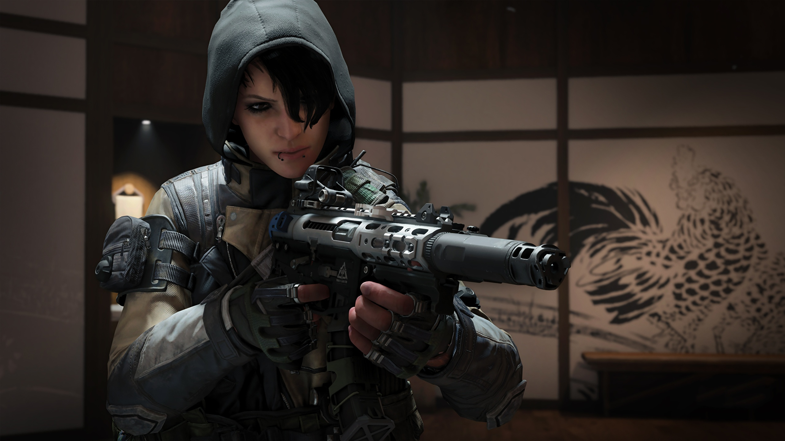 Wallpaper Call Of Duty Warrior Assault Rifle Black Ops 4 2560x1440