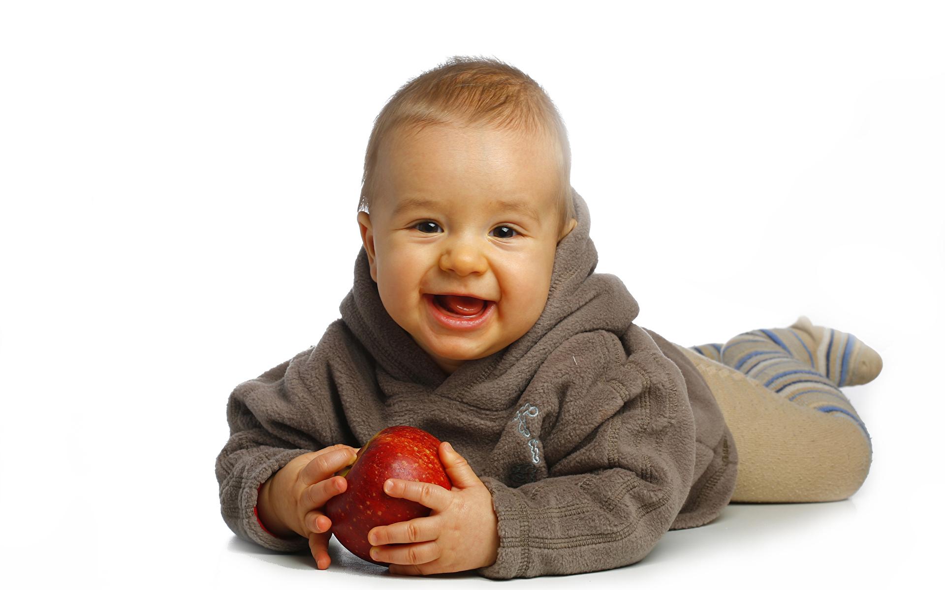 Desktop Wallpapers Baby Smile Children Apples 1920x1200 Infants newborn child