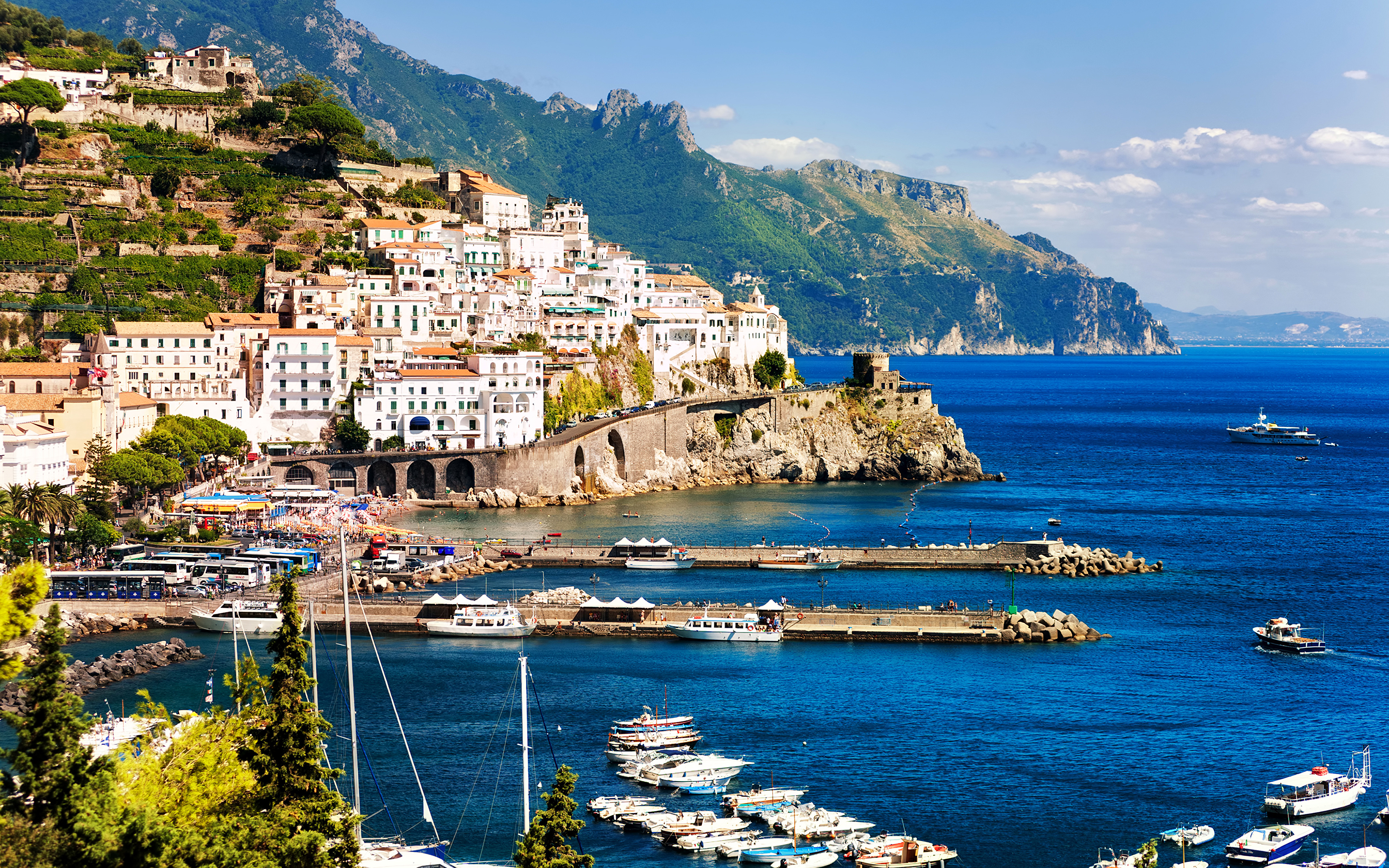 Wallpaper Amalfi Italy Crag Pier Coast Cities Houses 3840x2400