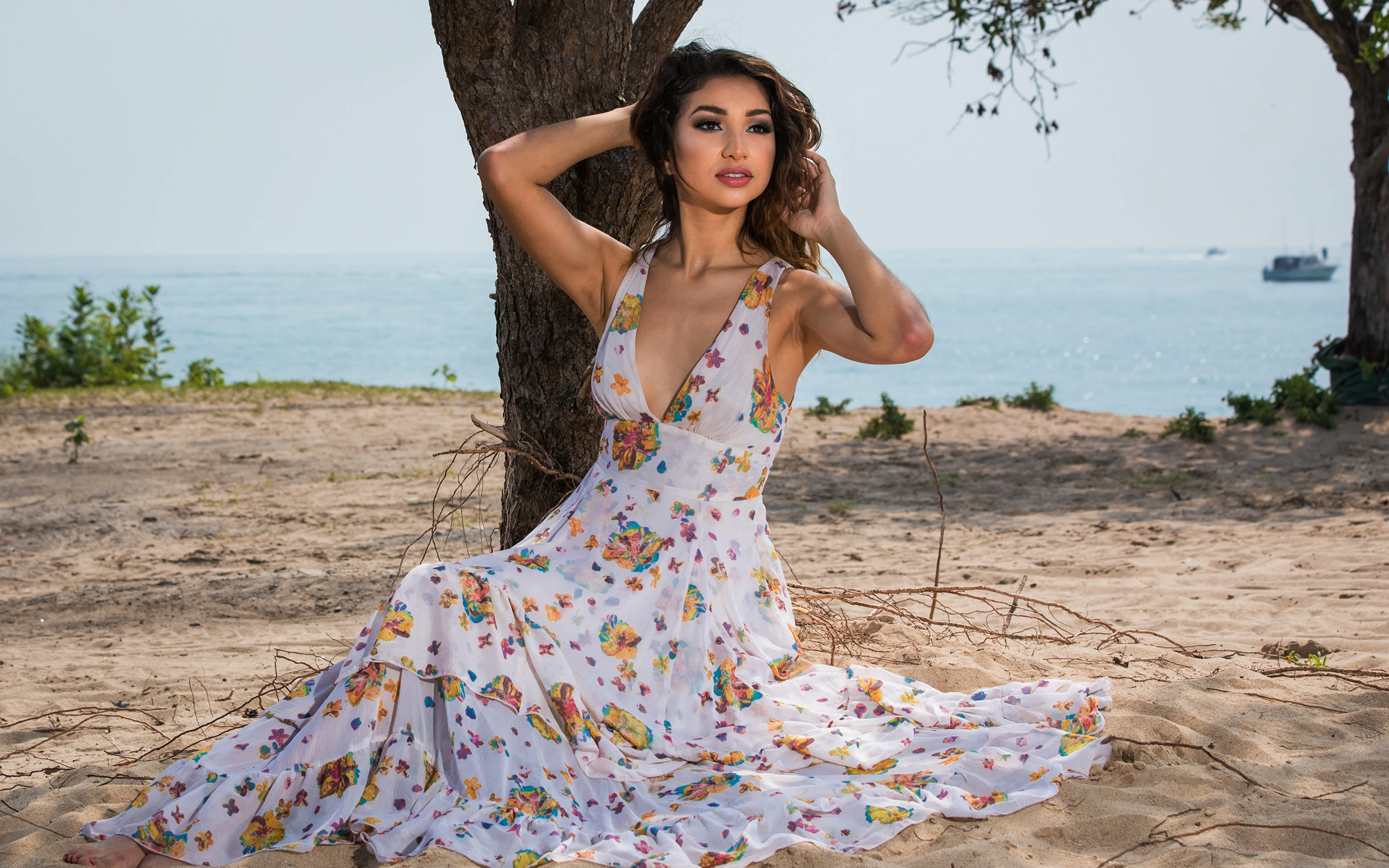 Images Isis Serano Pose young woman Sand Sitting Staring Dress 3840x2400 posing Girls female sit Glance gown frock