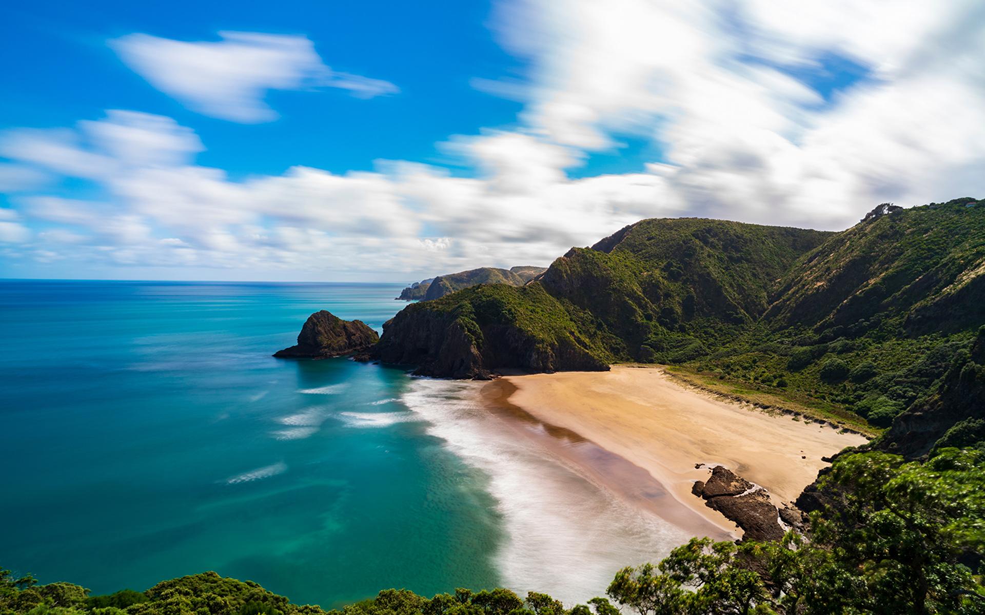 Bilder von Neuseeland Piha Beach Strände Natur Küste Wolke 1920x1200 Strand