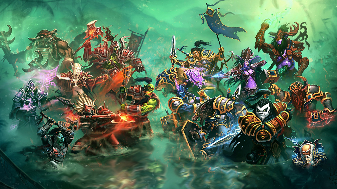 Pictures Wow Monster Warriors Horde Vs Alliance Fantasy 1366x768