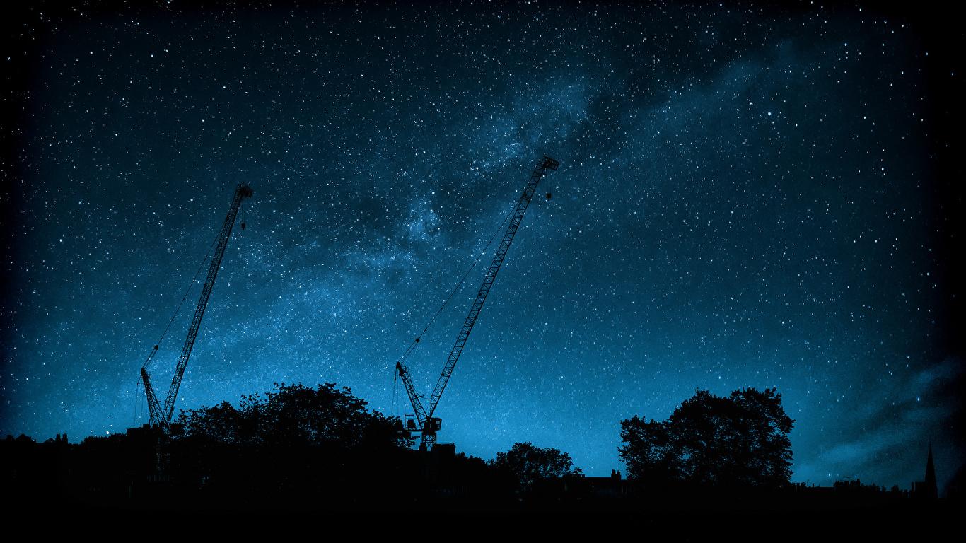 壁紙 1366x768 天の川 空 恒星 夜 シルエット 宇宙空間 ダウンロード 写真