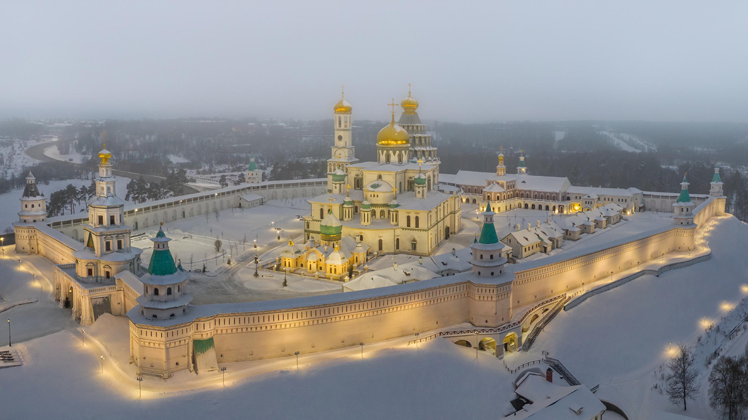 2560x1440 Rússia Moscovo Templo Mosteiro Invierno New Jerusalem Monastery Moscow Region Neve Raios de luz Cidades