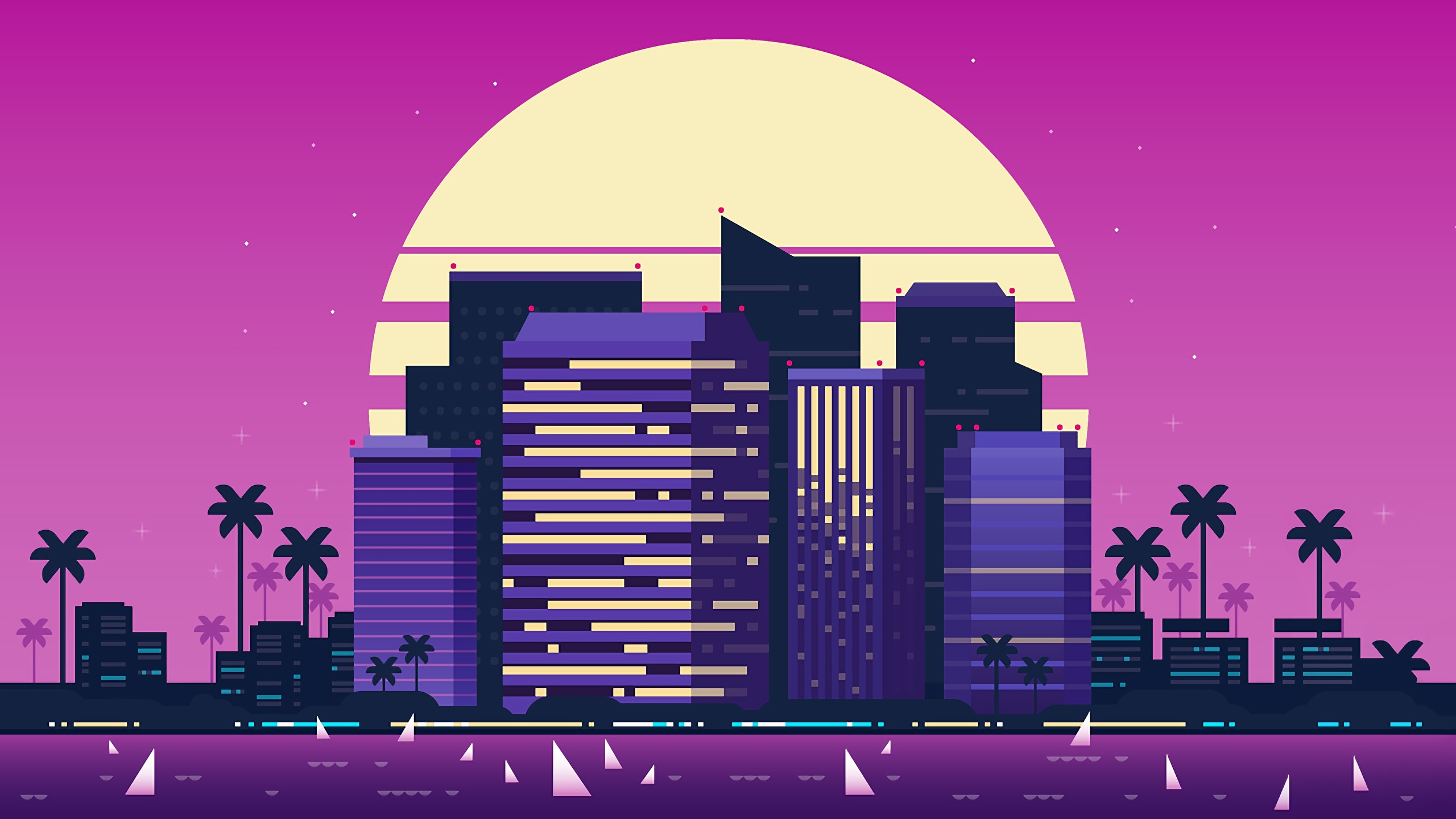 Image Synthwave Cities Building 2560x1440