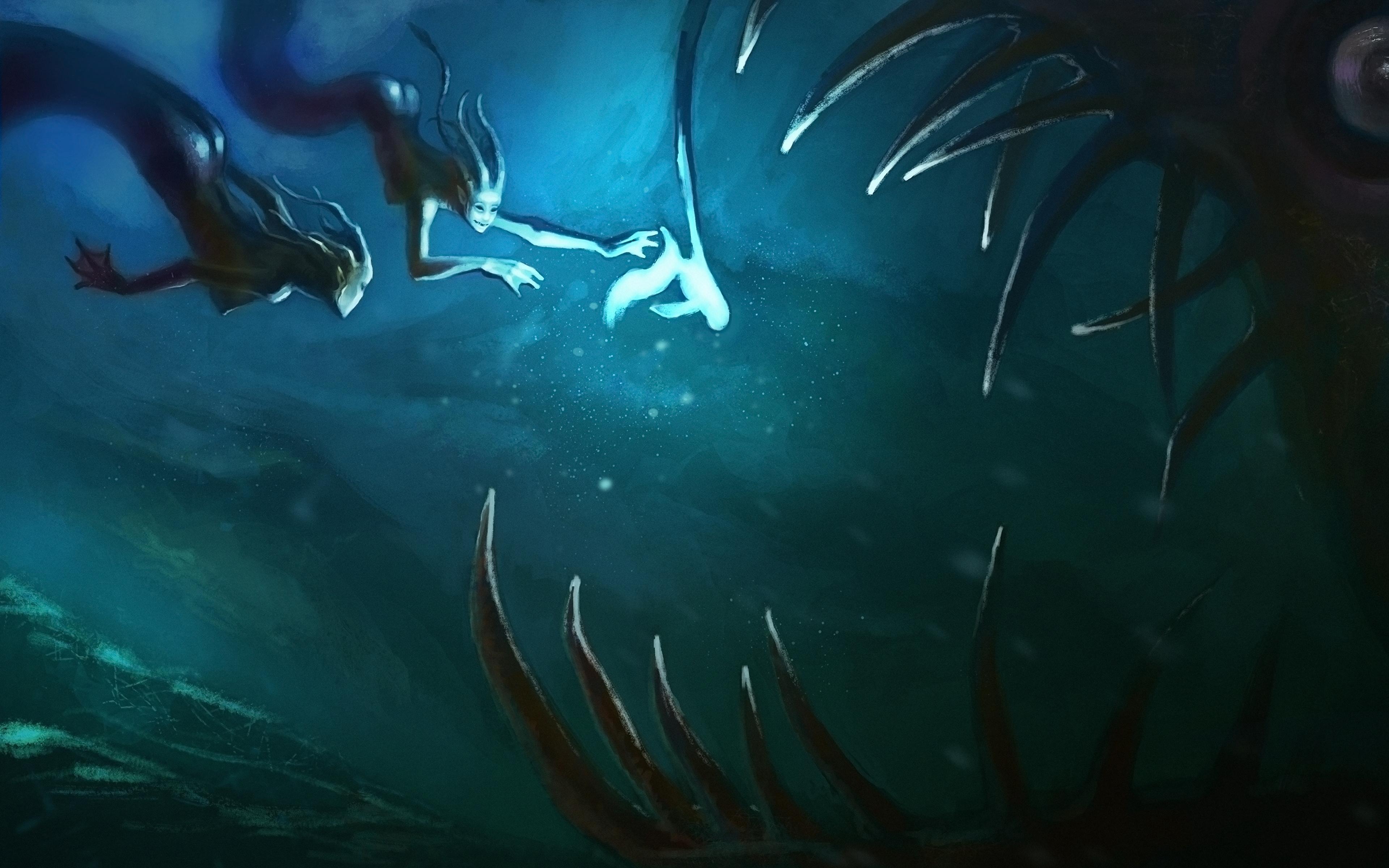 Photo Underwater world 2 Fantasy Teeth Supernatural beings 3840x2400 Two